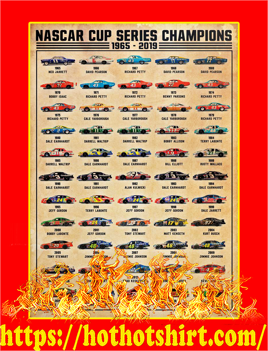 Nascar cup series champions poster - A3