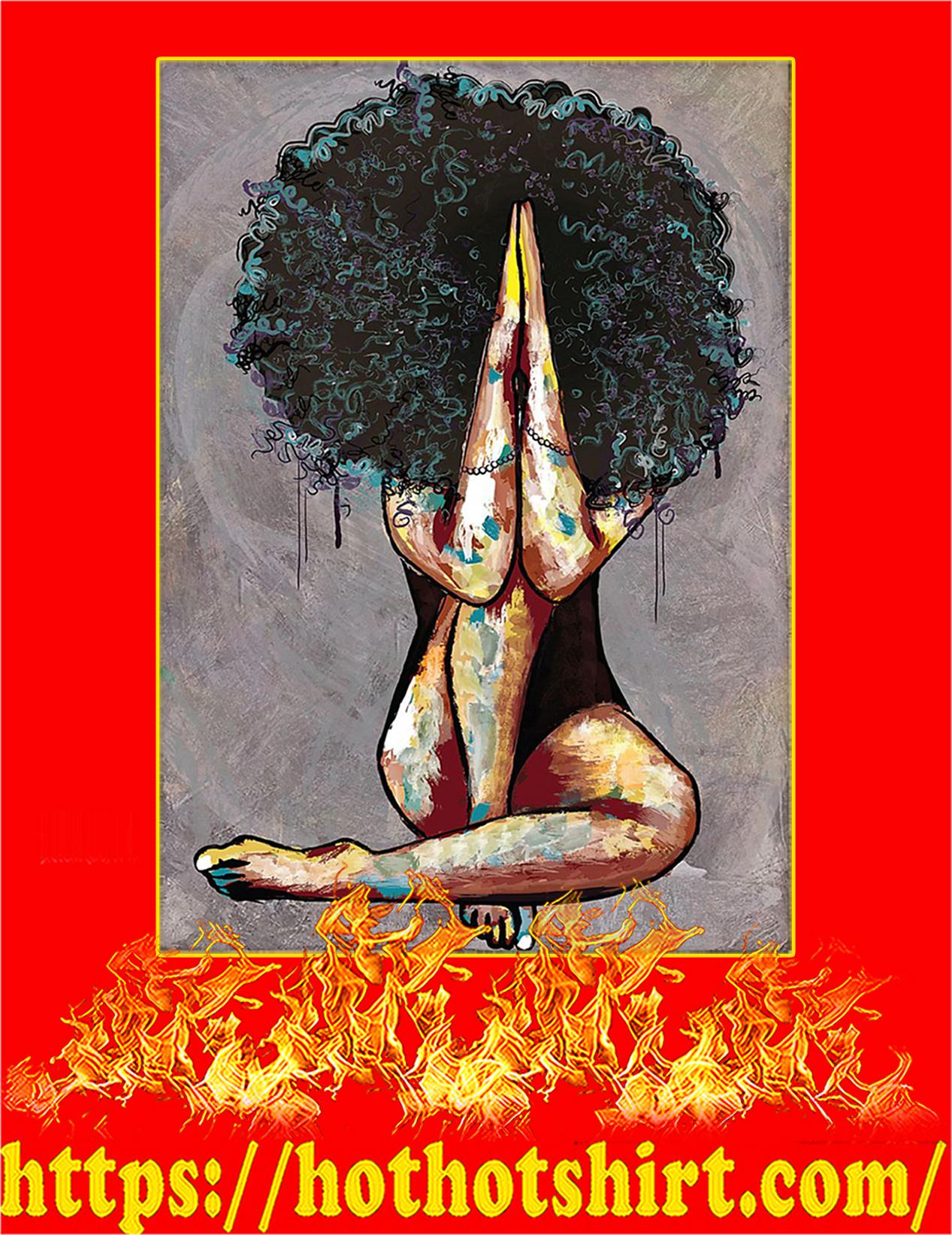 Natural Black Girl Pray Poster - A4