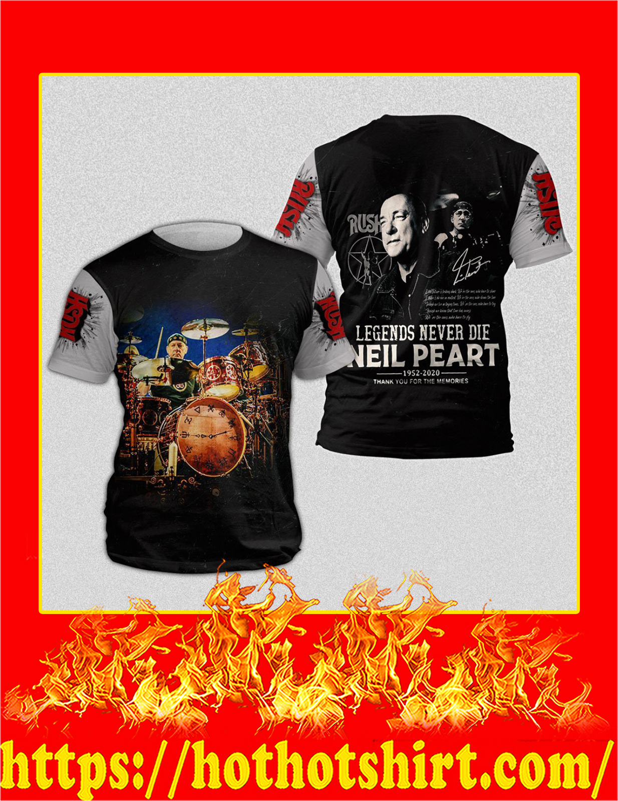 Neil Peart Legends Never Die full print 3D T-Shirt