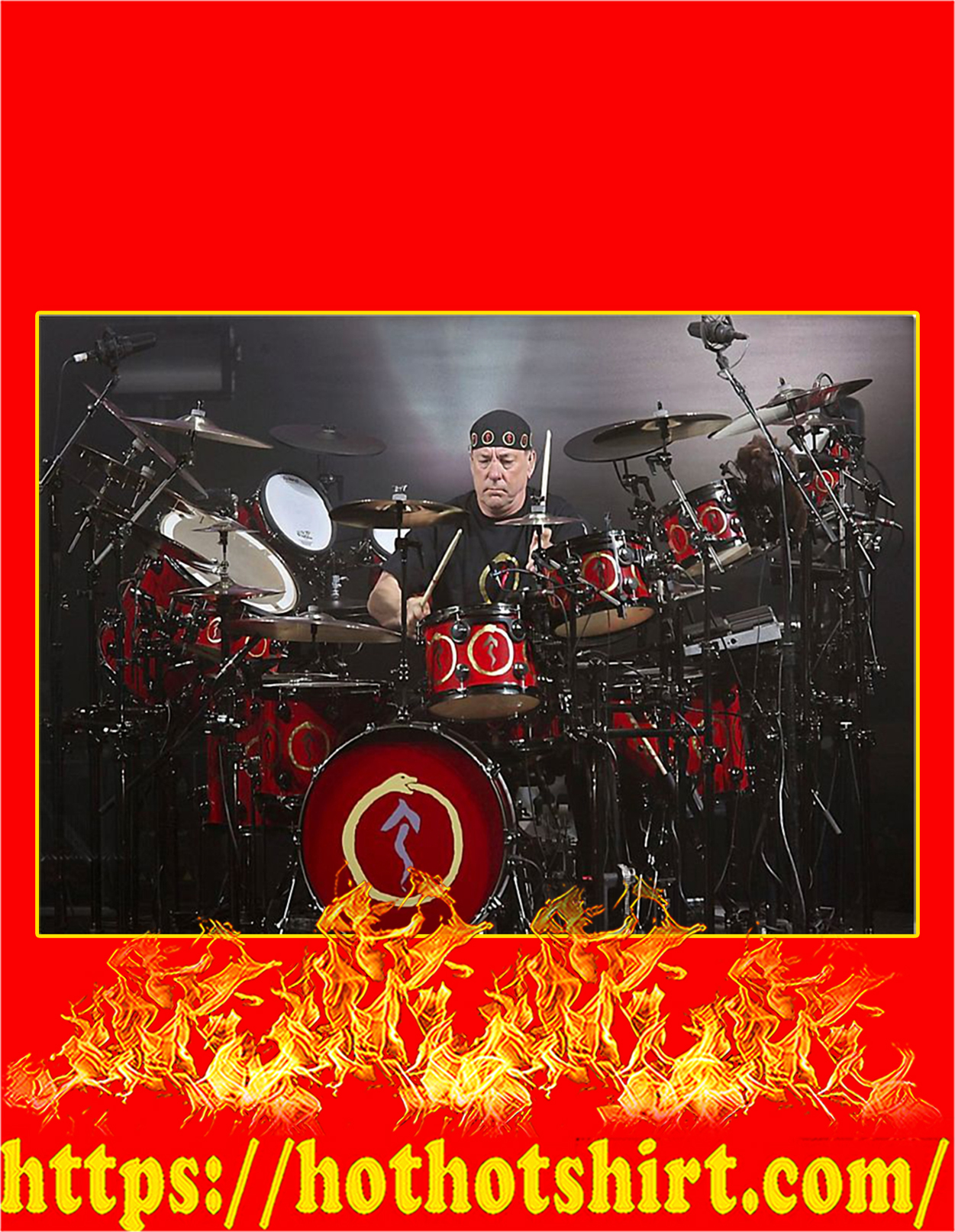 Neil peart rush drummer poster - A3