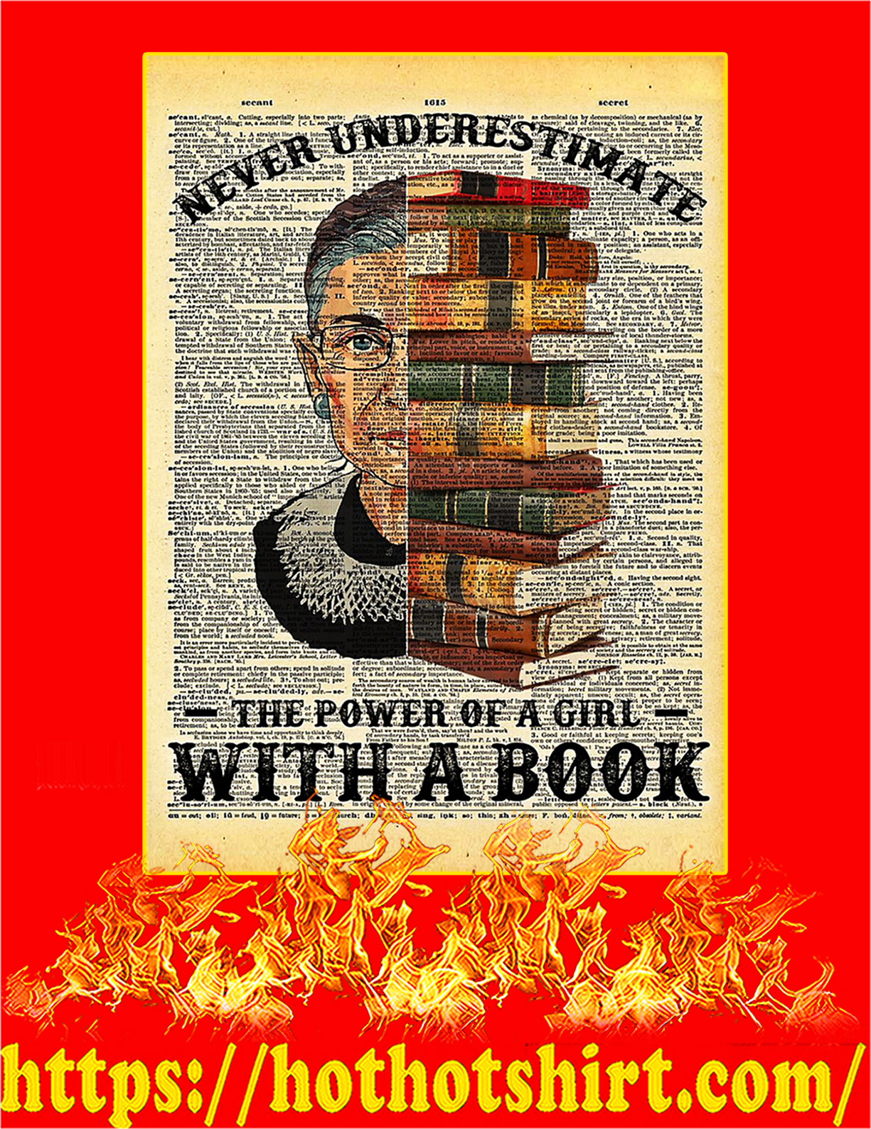 Never Underestimate The Power Of A Girl With A Book Poster - A2