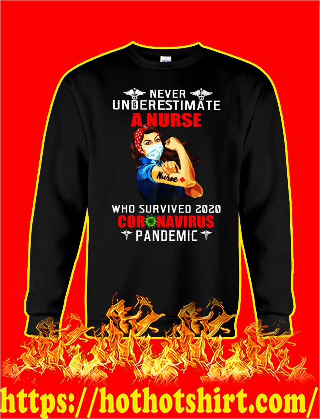 Never underestimate a nurse who survived 2020 coronavirus pandemic sweatshirt