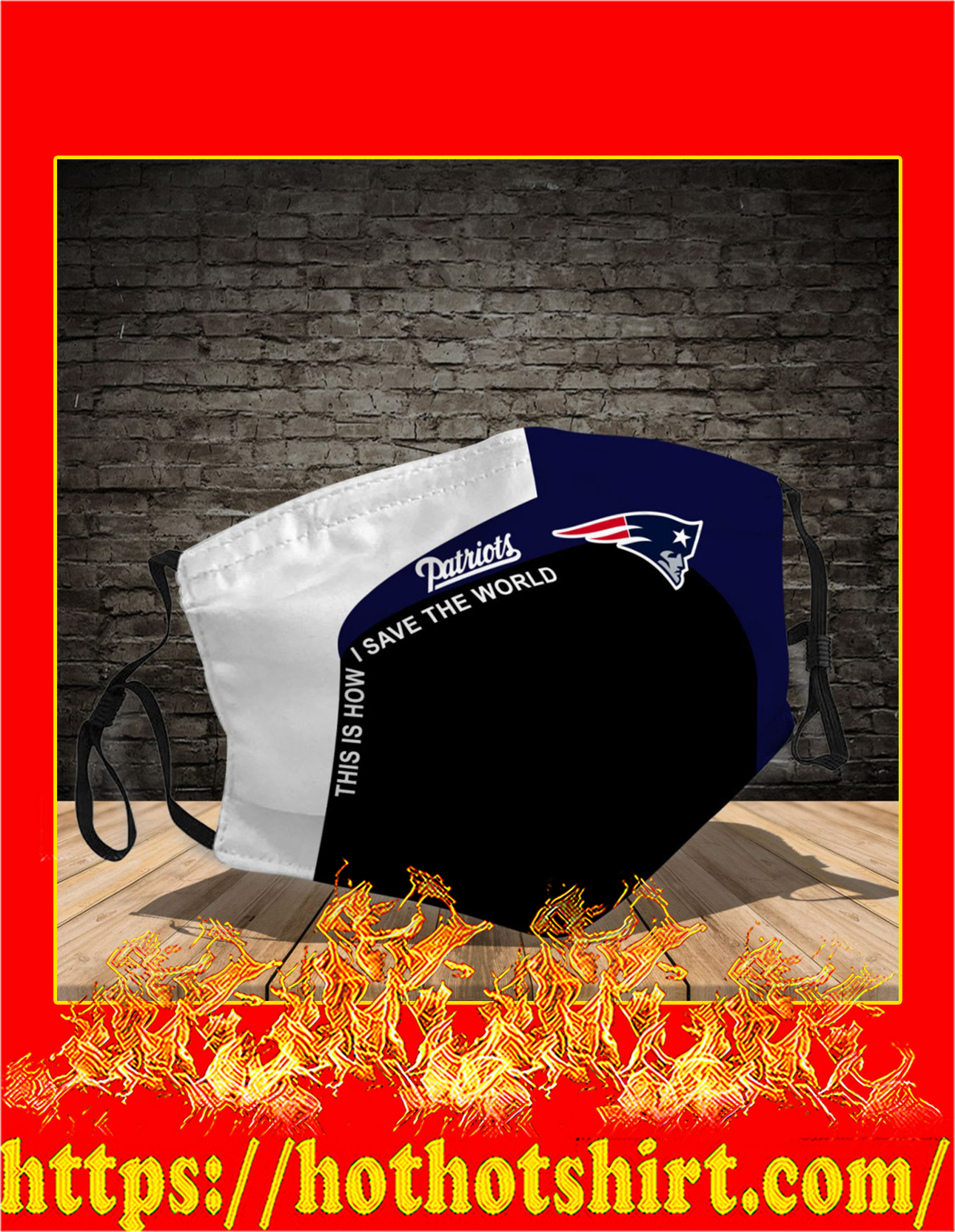 New England Patriots 3d face mask - detail