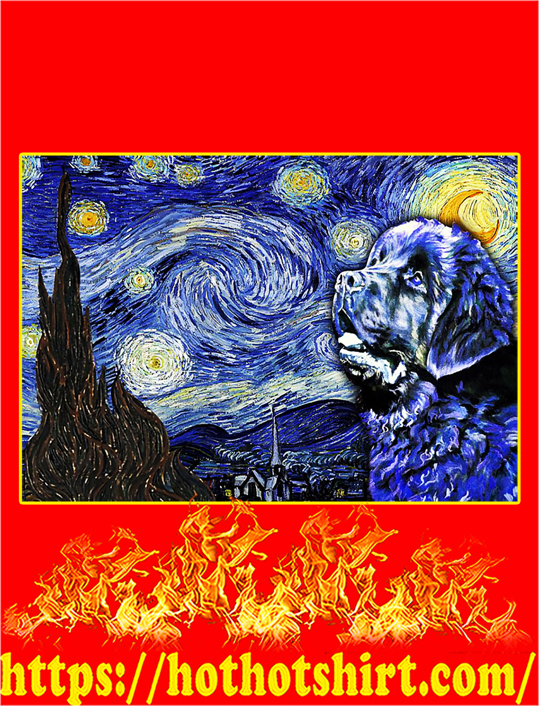 Newfoundland Dog Van Gogh Starry Night Poster - A2