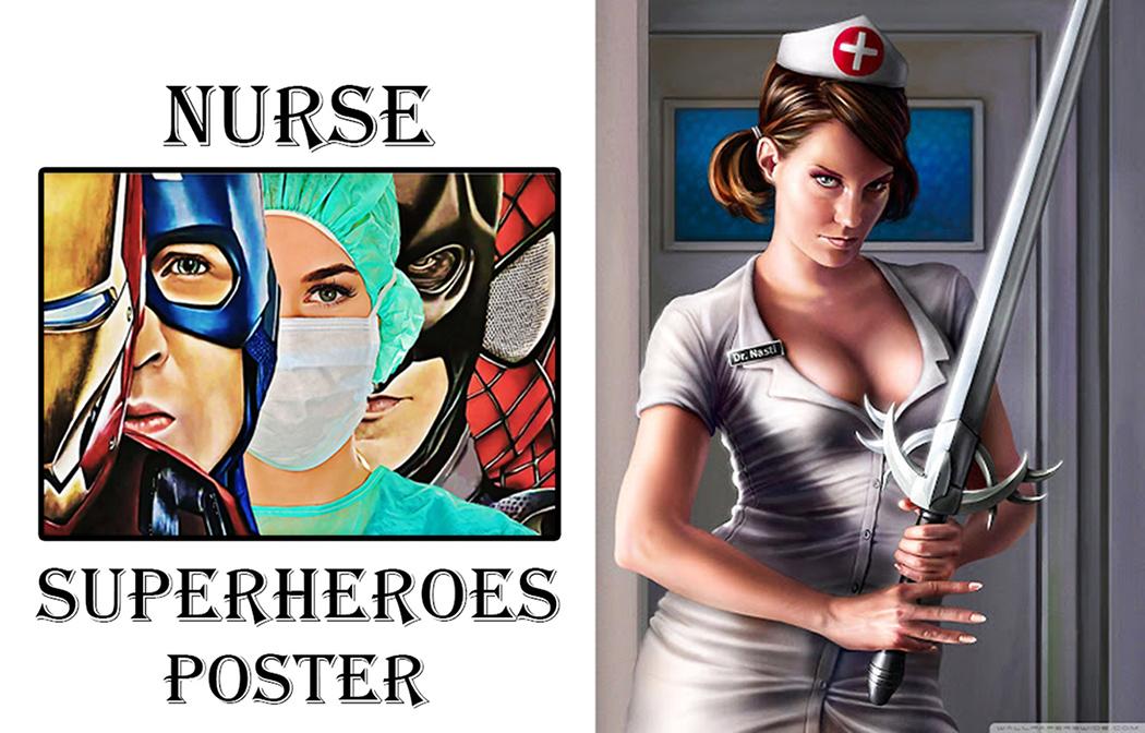 Nurse Super Heroes Iron Man Poster a4