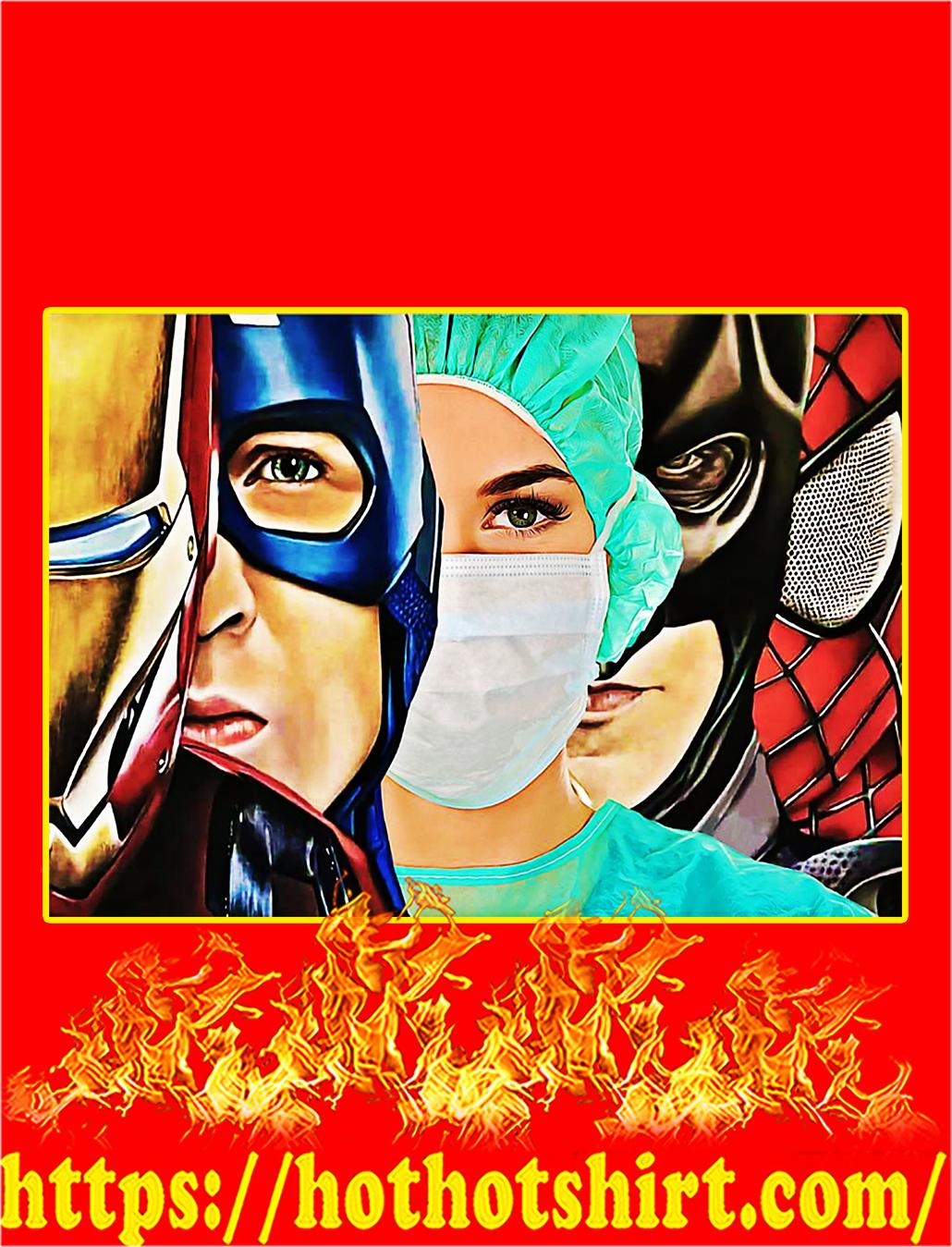 Nurse Superhero Iron Man Poster - A4
