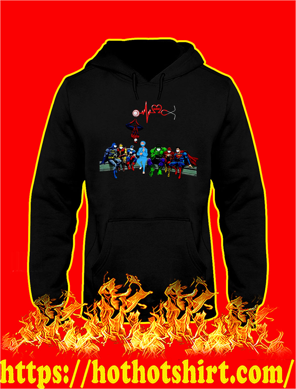Nurse and super heroes heartbeat hoodie