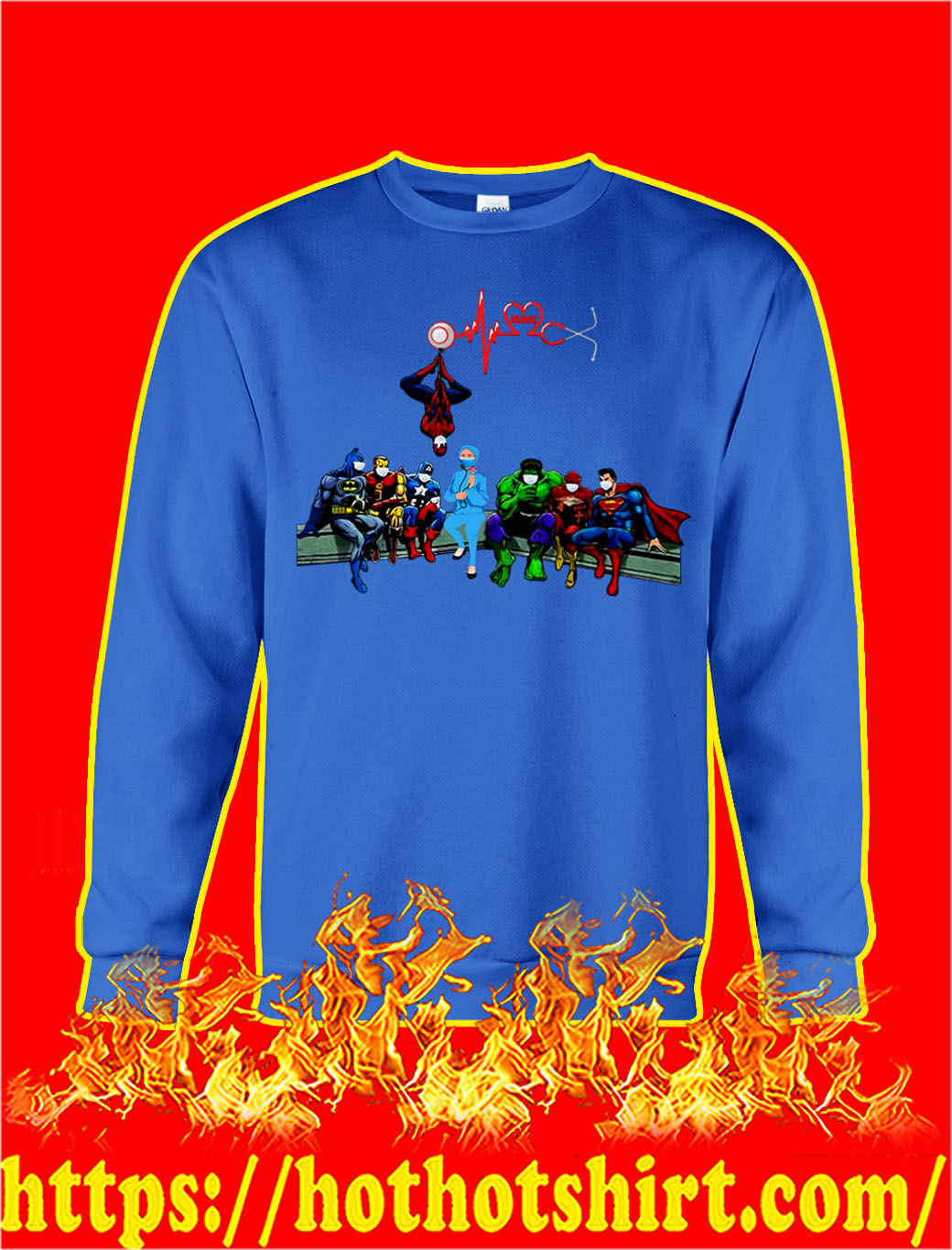 Nurse and super heroes heartbeat sweatshirt