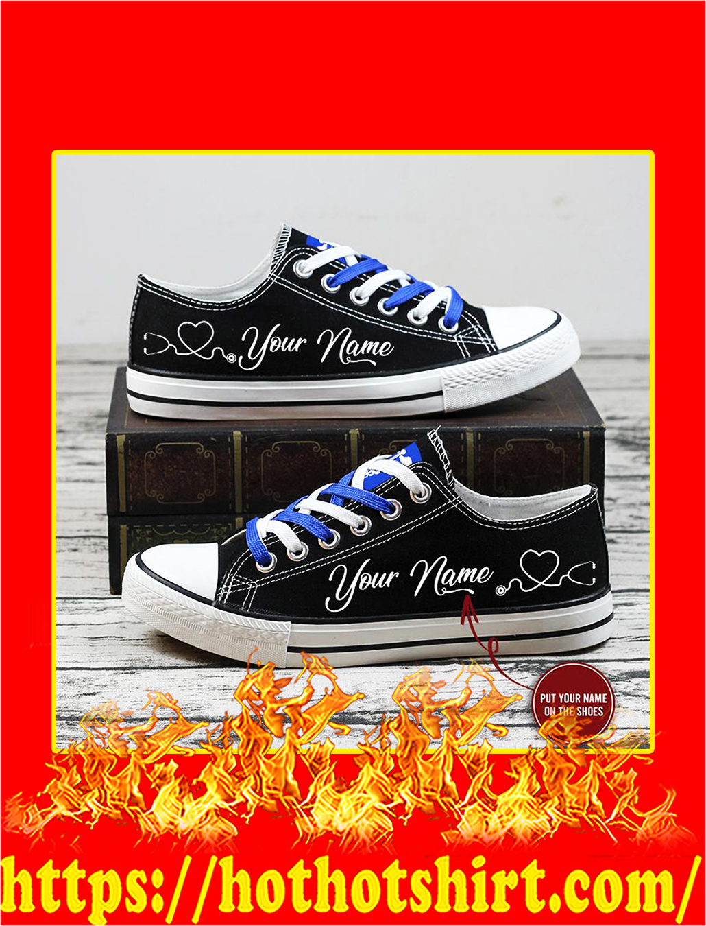 Nurse custom personalized name low top shoes- pic 2
