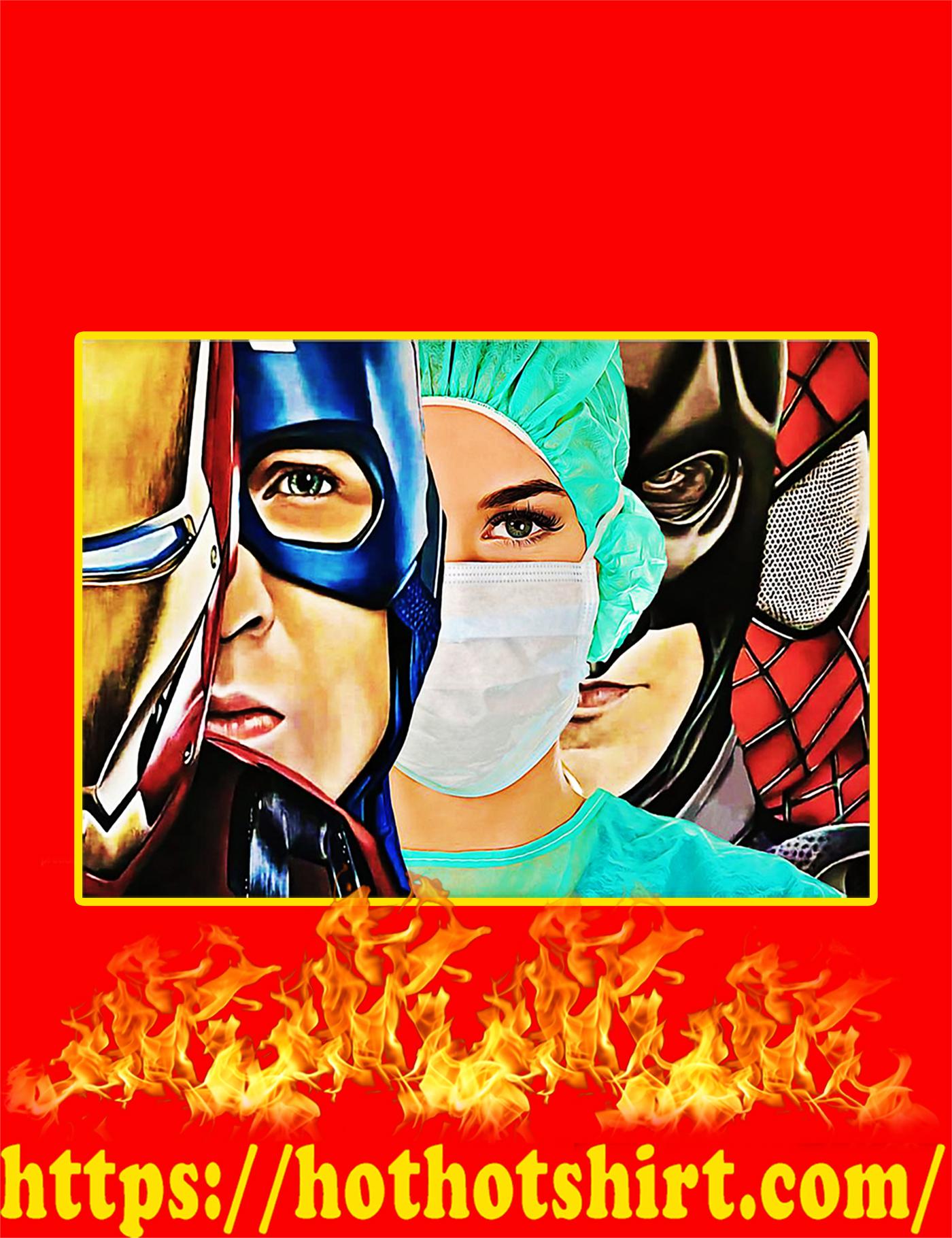 Nurse iron man captain america poster-a4