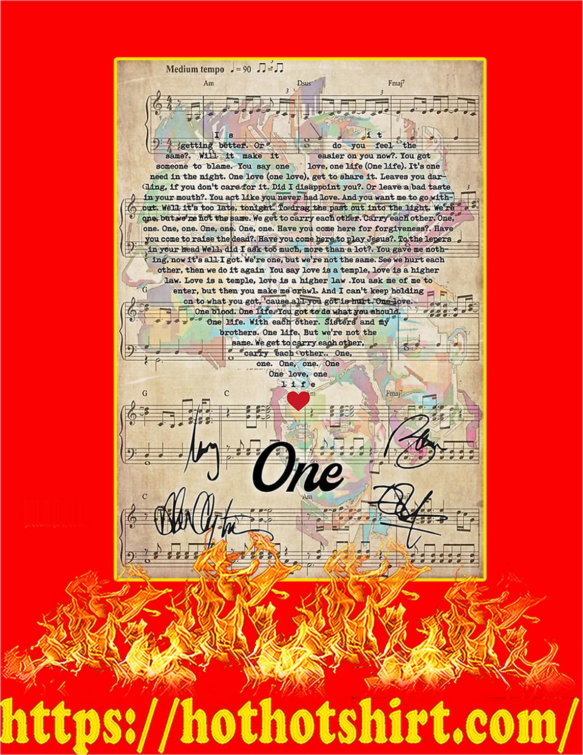 One U2 signature poster - A2