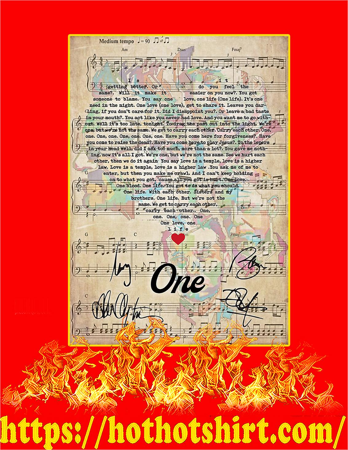 One U2 signature poster - A3