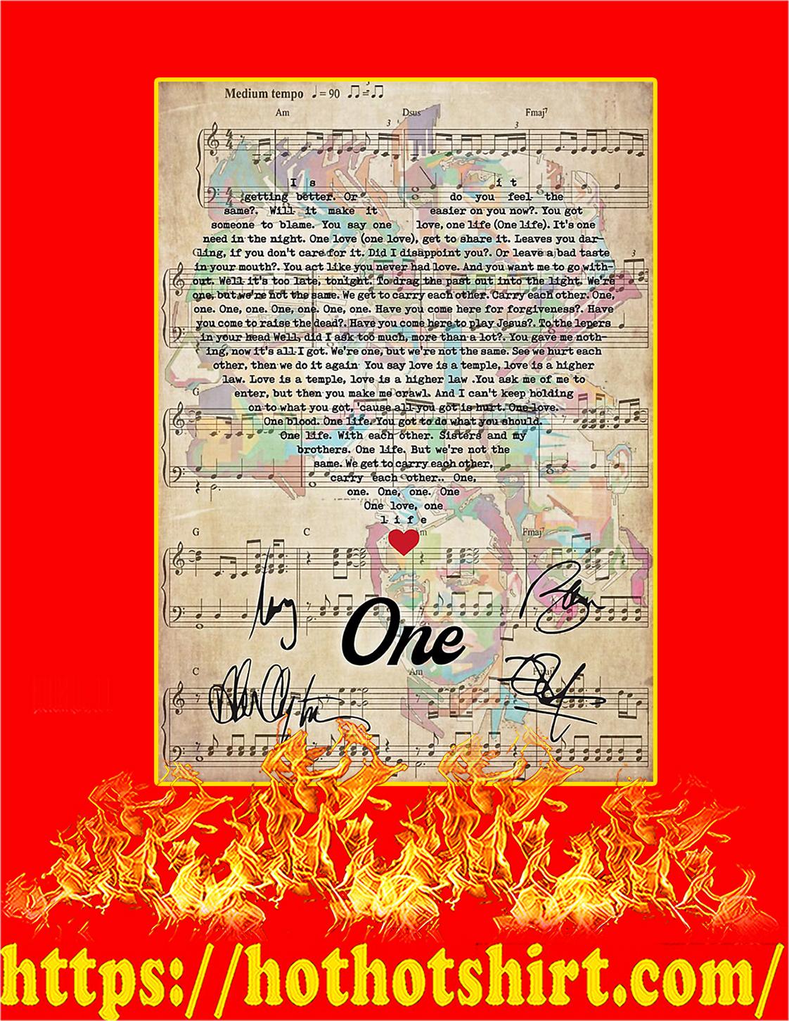 One U2 signature poster - A4