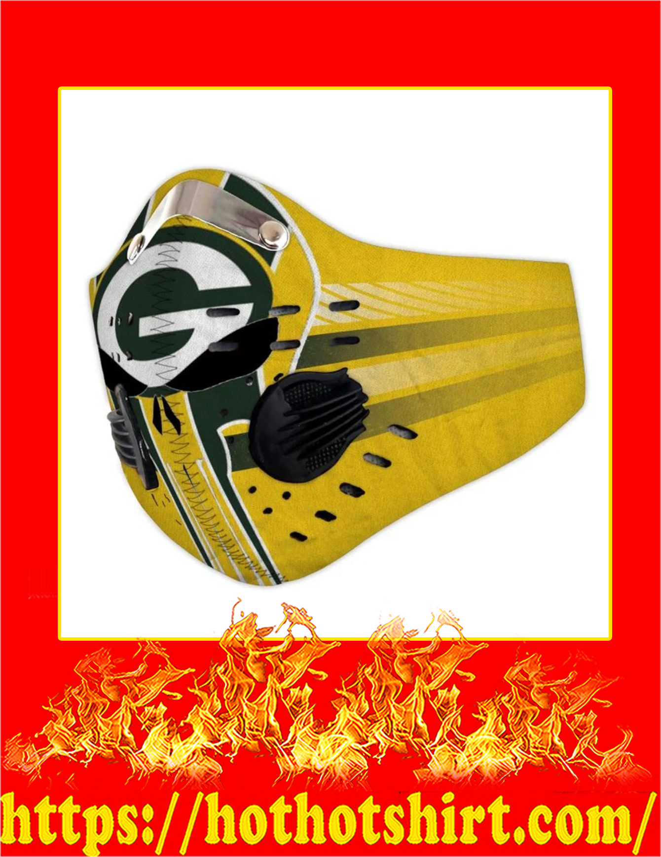 Packers punisher skull filter face mask - Pic 1