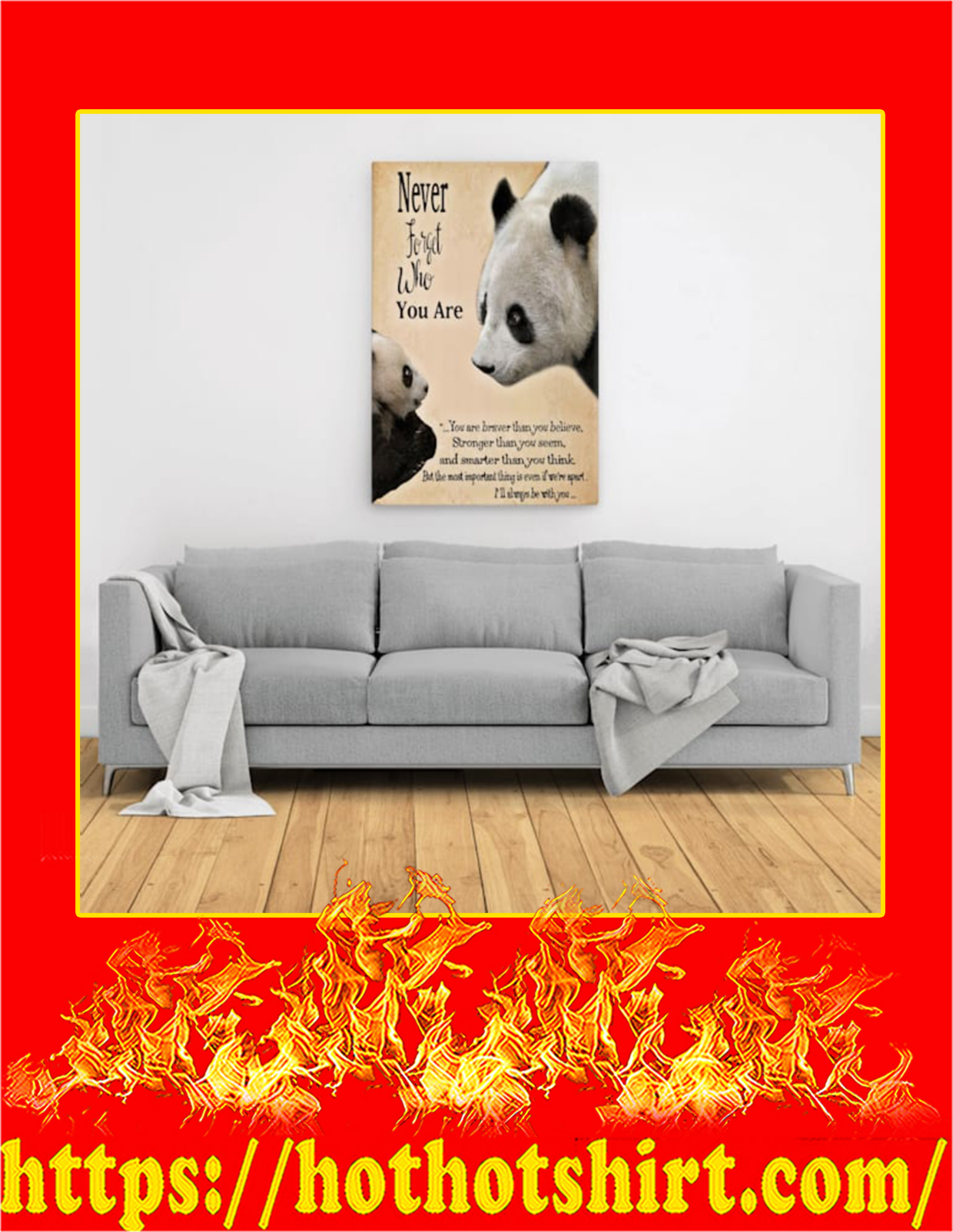 Panda never forget who you are canvas prints - Large