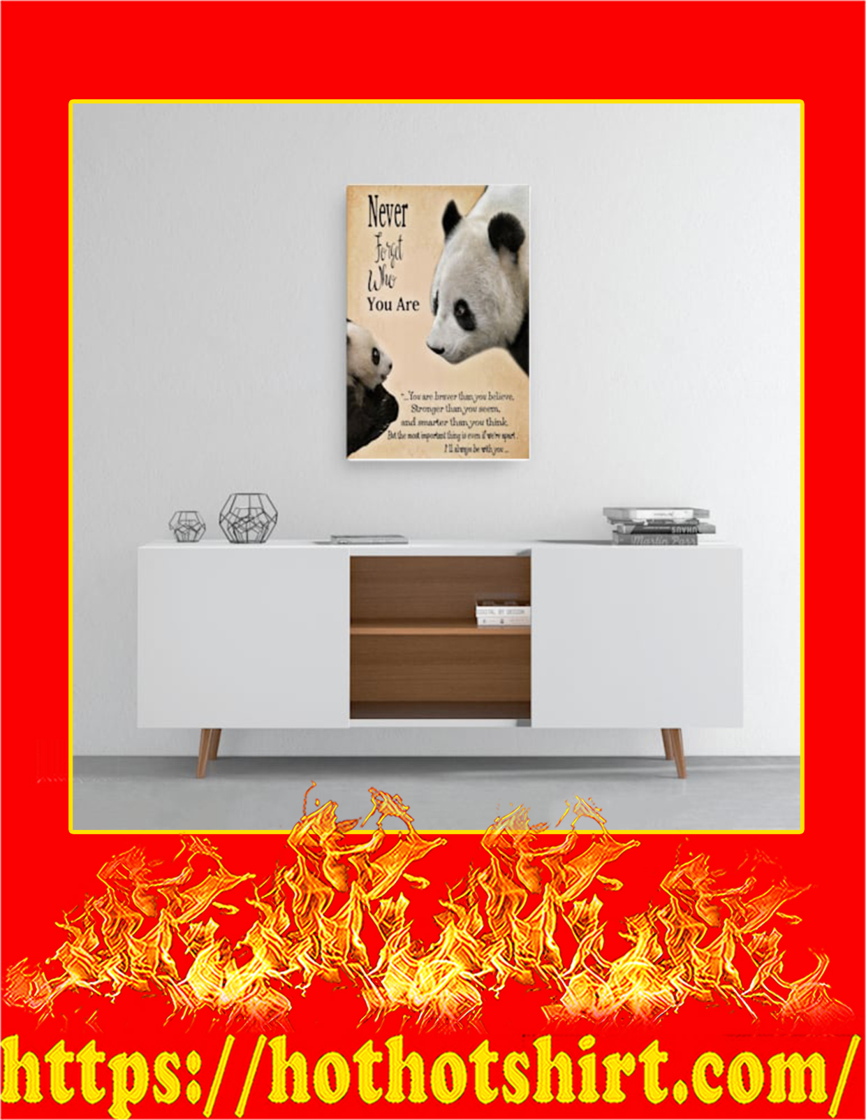 Panda never forget who you are canvas prints - Medium