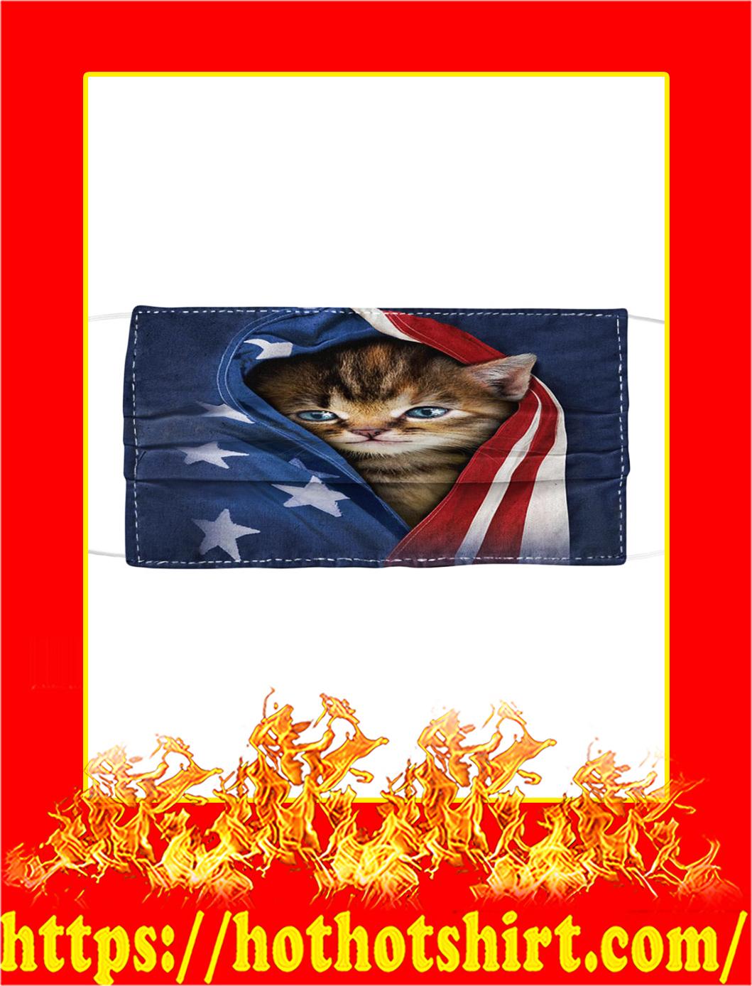 Patriotic Kitten Cat American Flag Cloth Face Mask- pic 1