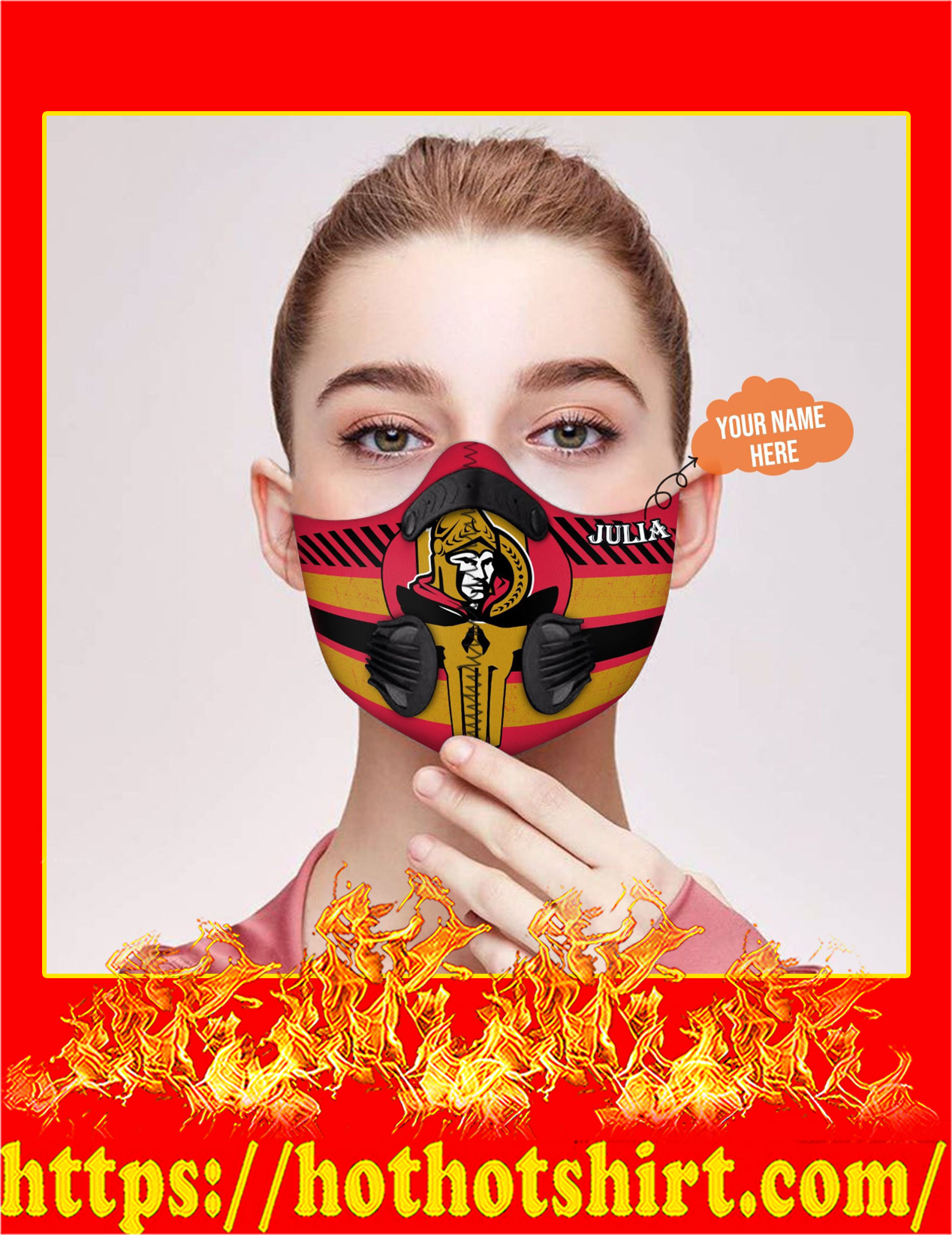 Personalized custom name Ottawa senators punisher skull filter face mask - detail