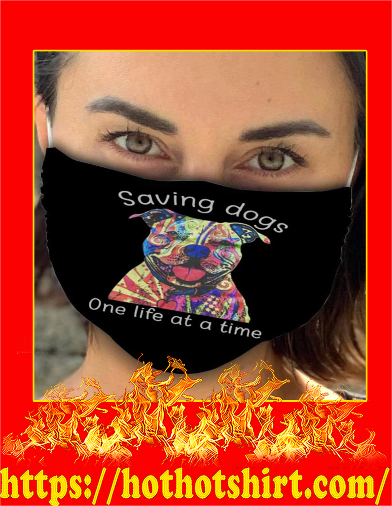 Pitbull tattoos saving dogs one life at a time face mask - detail