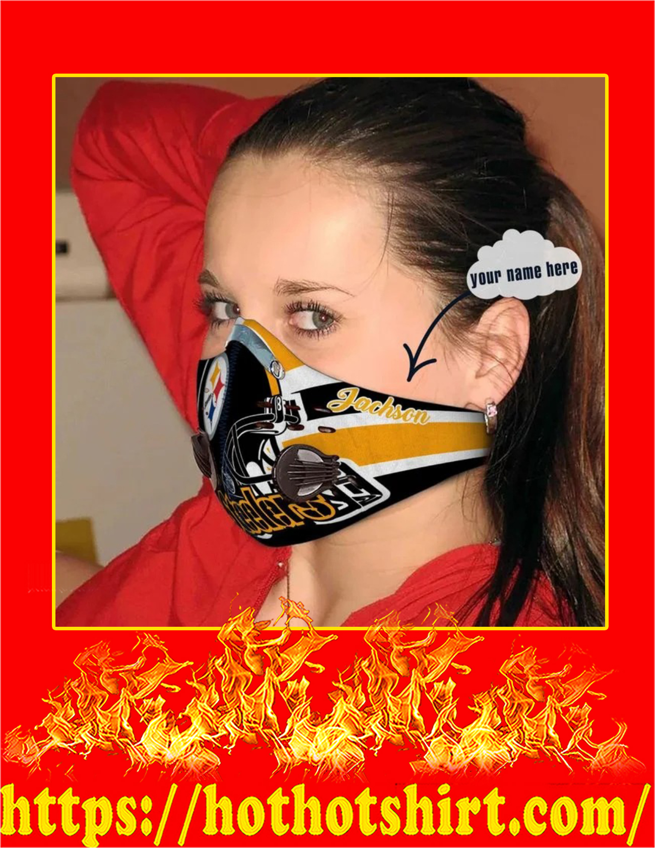Pittsburgh steelers personalized custom name filter face mask - Pic 1