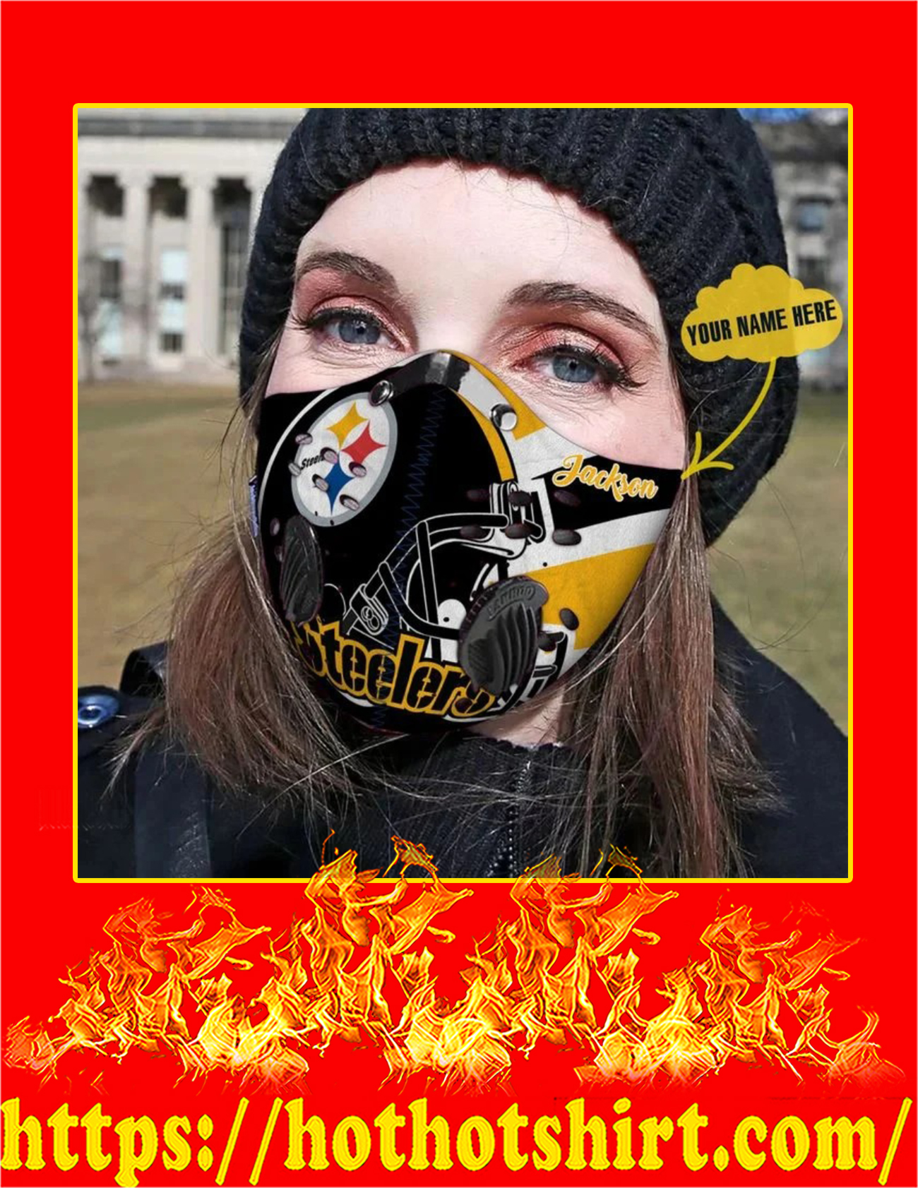 Pittsburgh steelers personalized custom name filter face mask - Pic 2