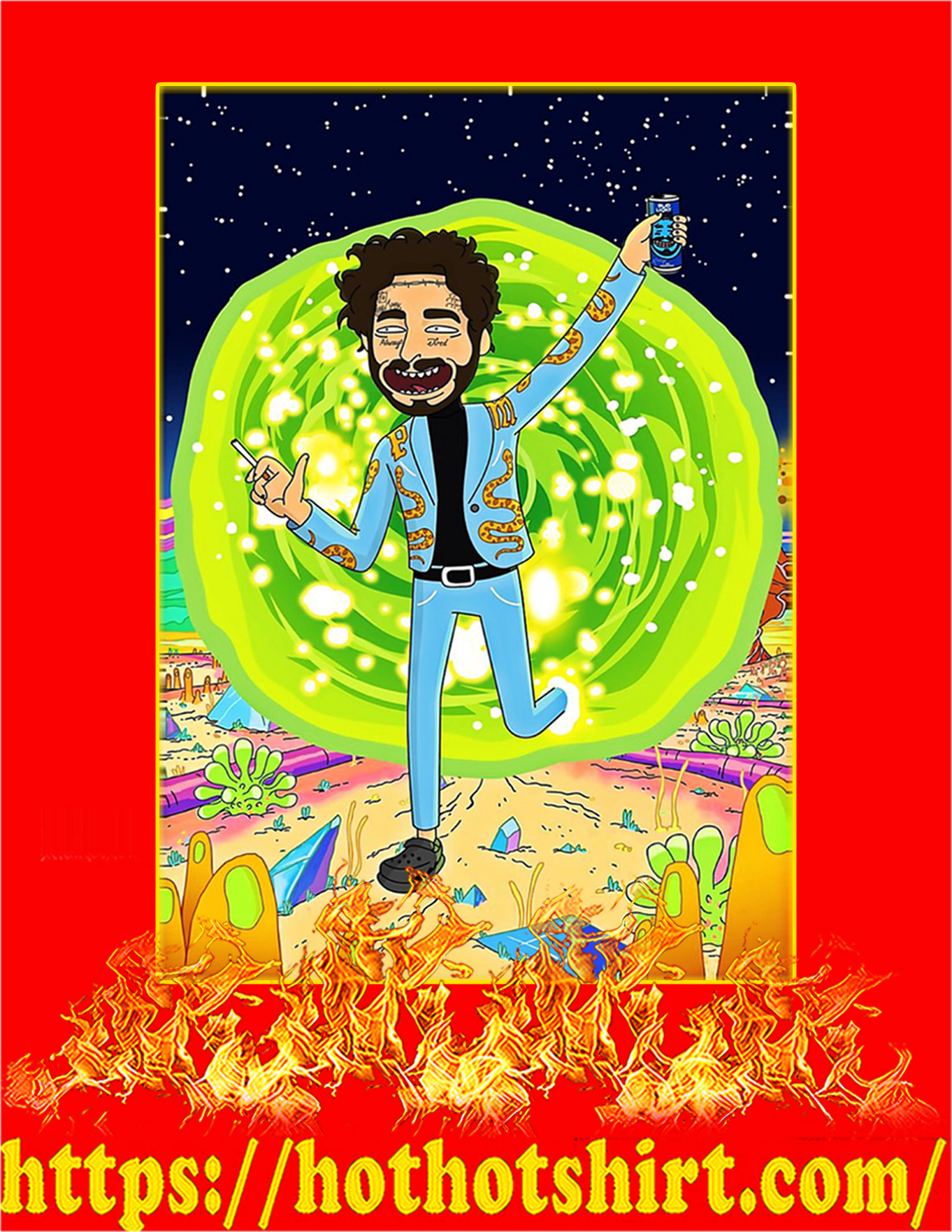 Post malone rick and morty poster - A2