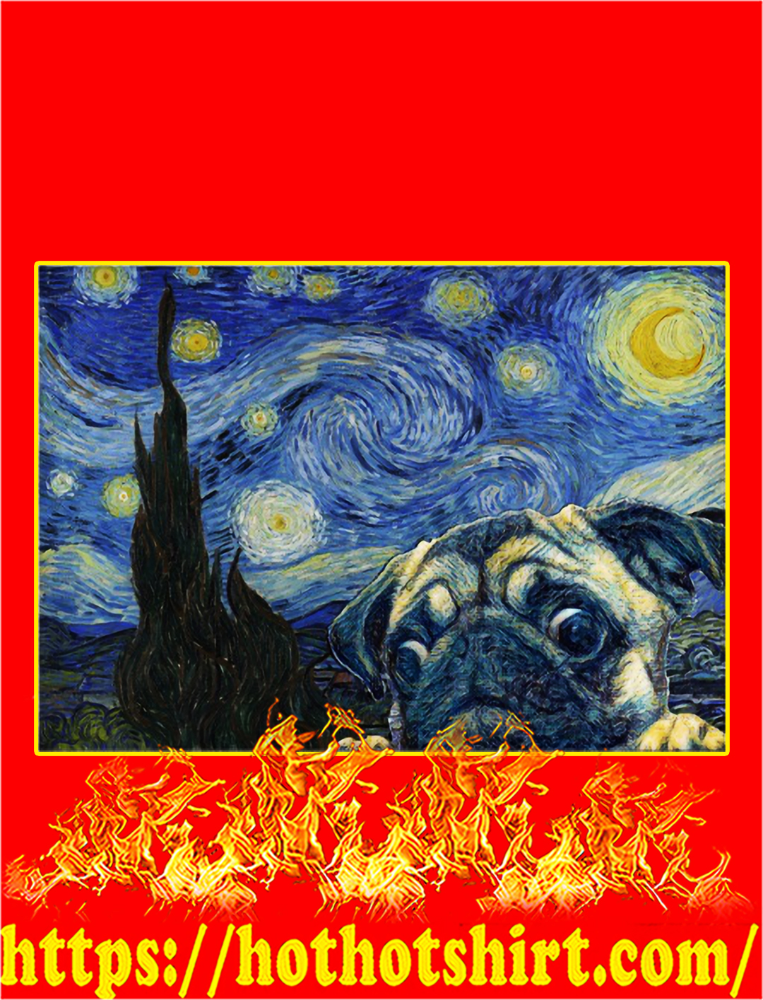Pug Starry Night Van Gogh Poster - A2
