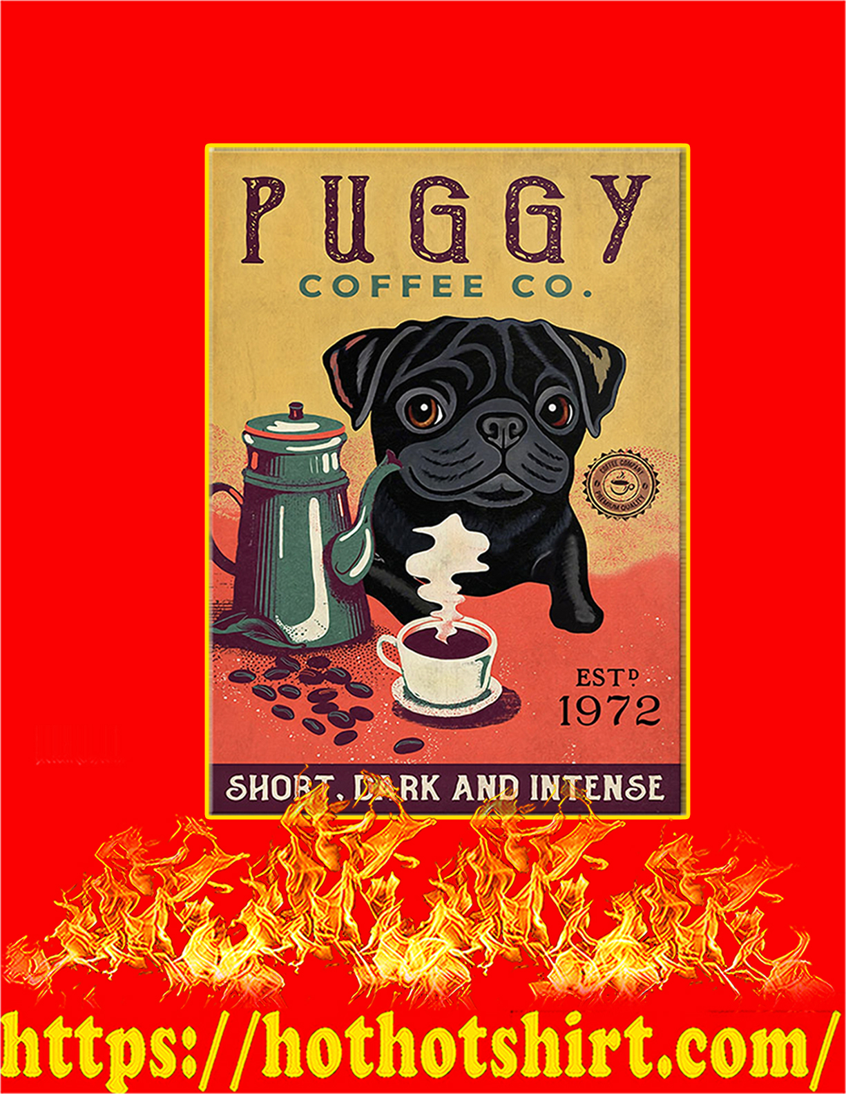 Puggy coffee co poster - A3