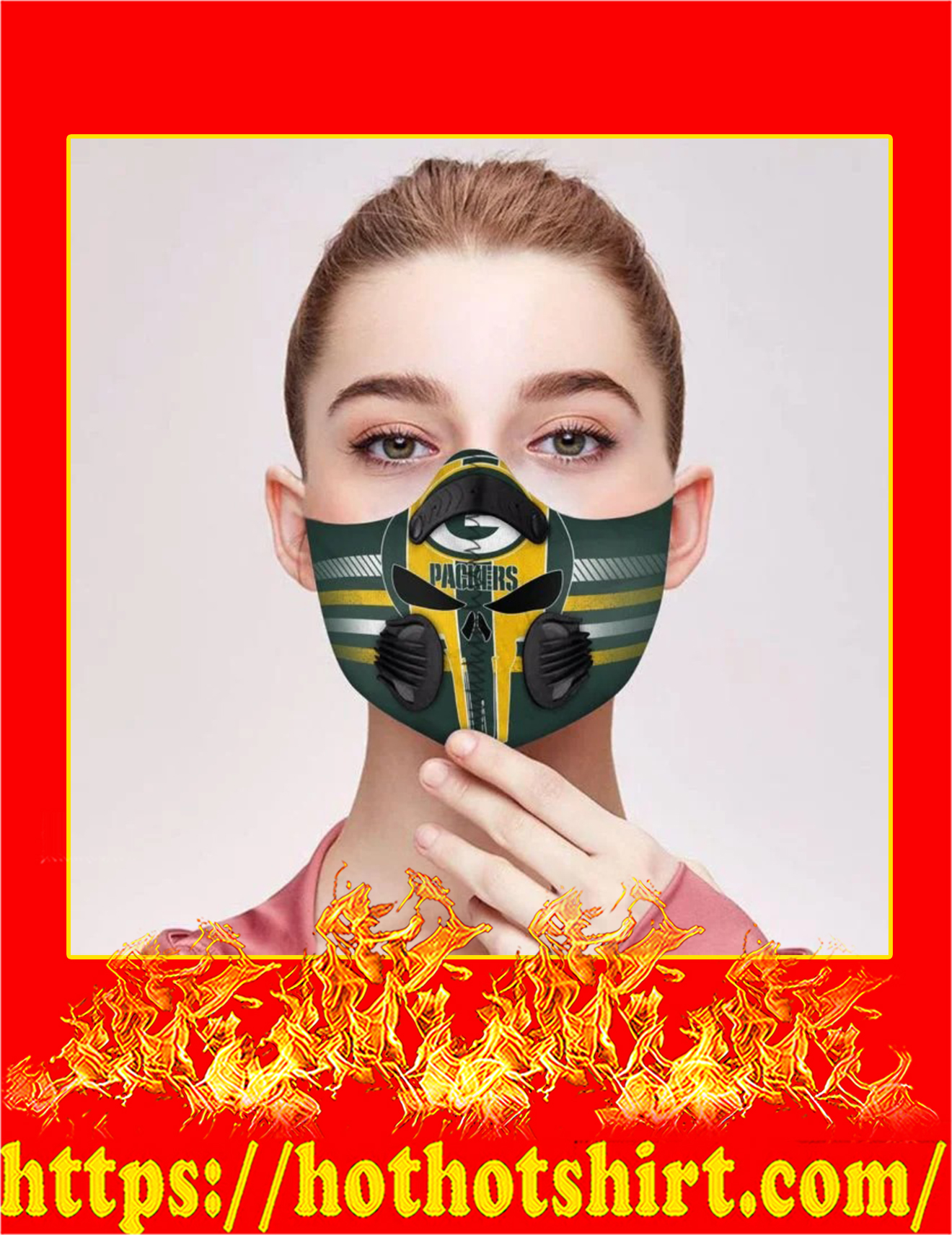 Punisher skull green bay packers filter face mask - detail