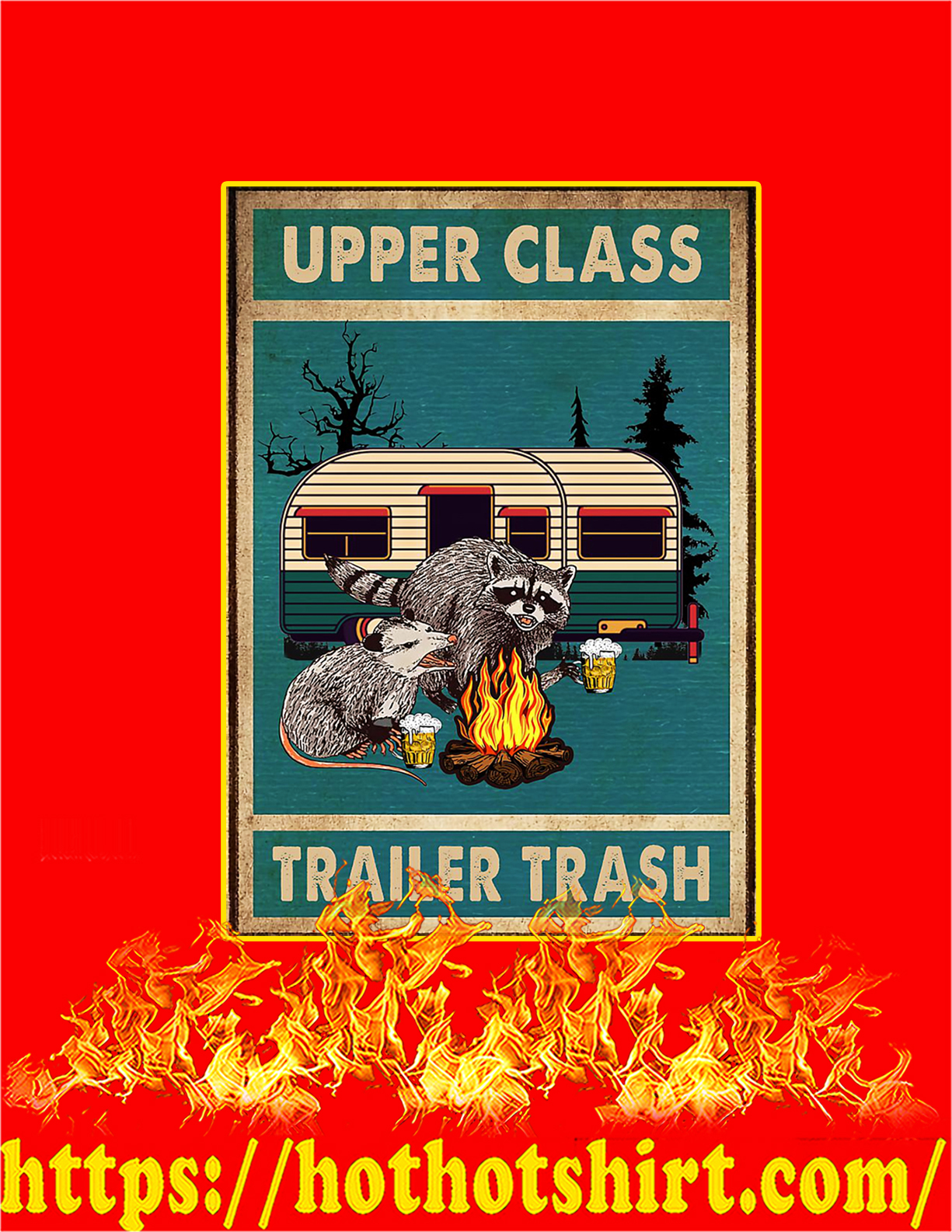 Raccoon and opossum upper class trailer trash poster - A2