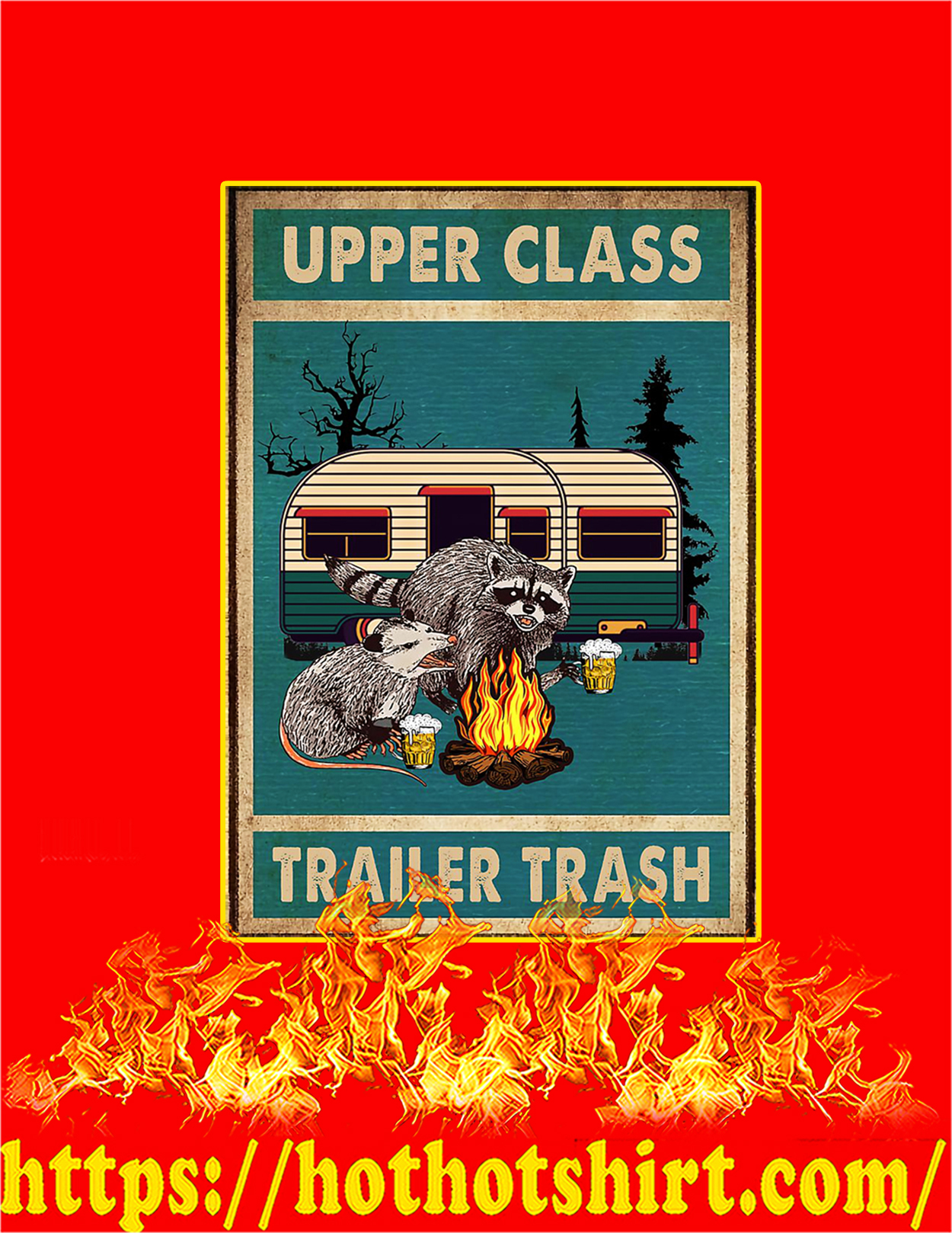 Raccoon and opossum upper class trailer trash poster - A3