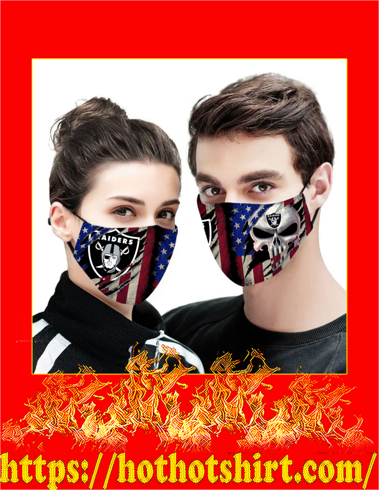 Raiders punisher skull american flag face mask - detail