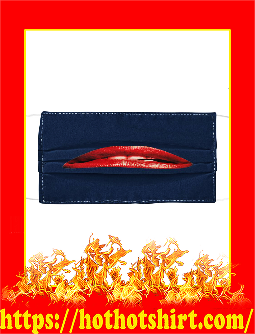 Rocky Horror Lips Cloth Face Mask- navy