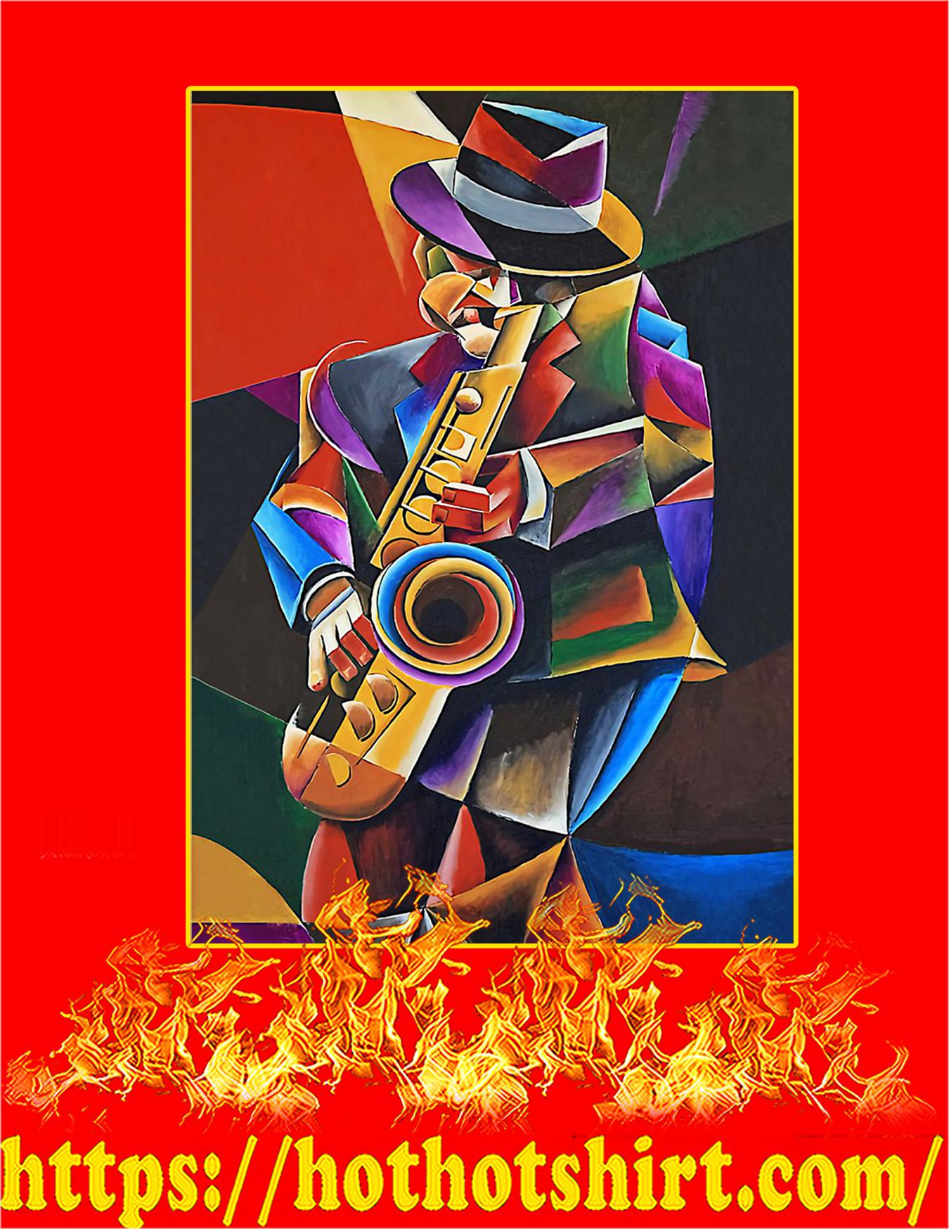 Saxophone art man jazz sax painting poster - A3