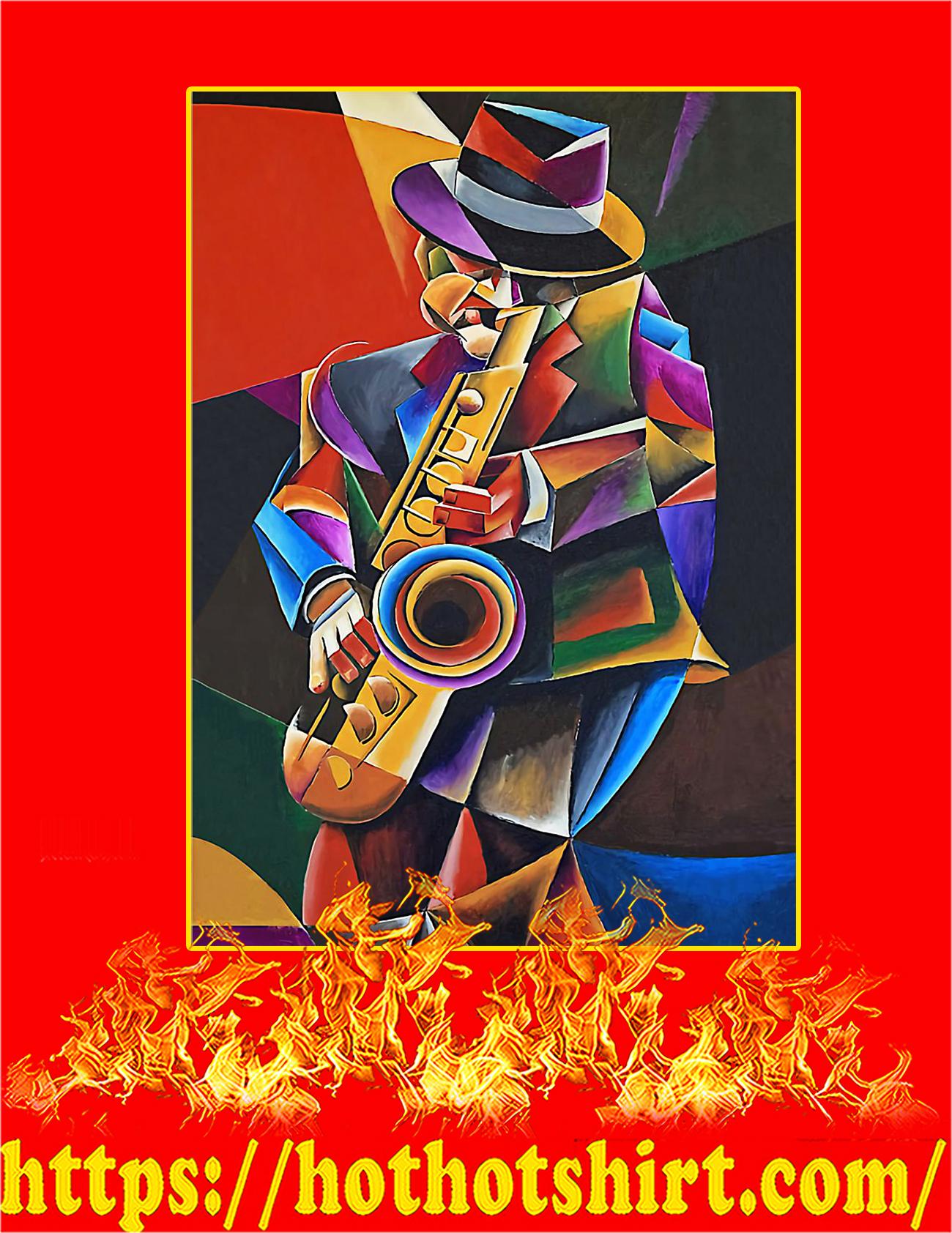 Saxophone art man jazz sax painting poster
