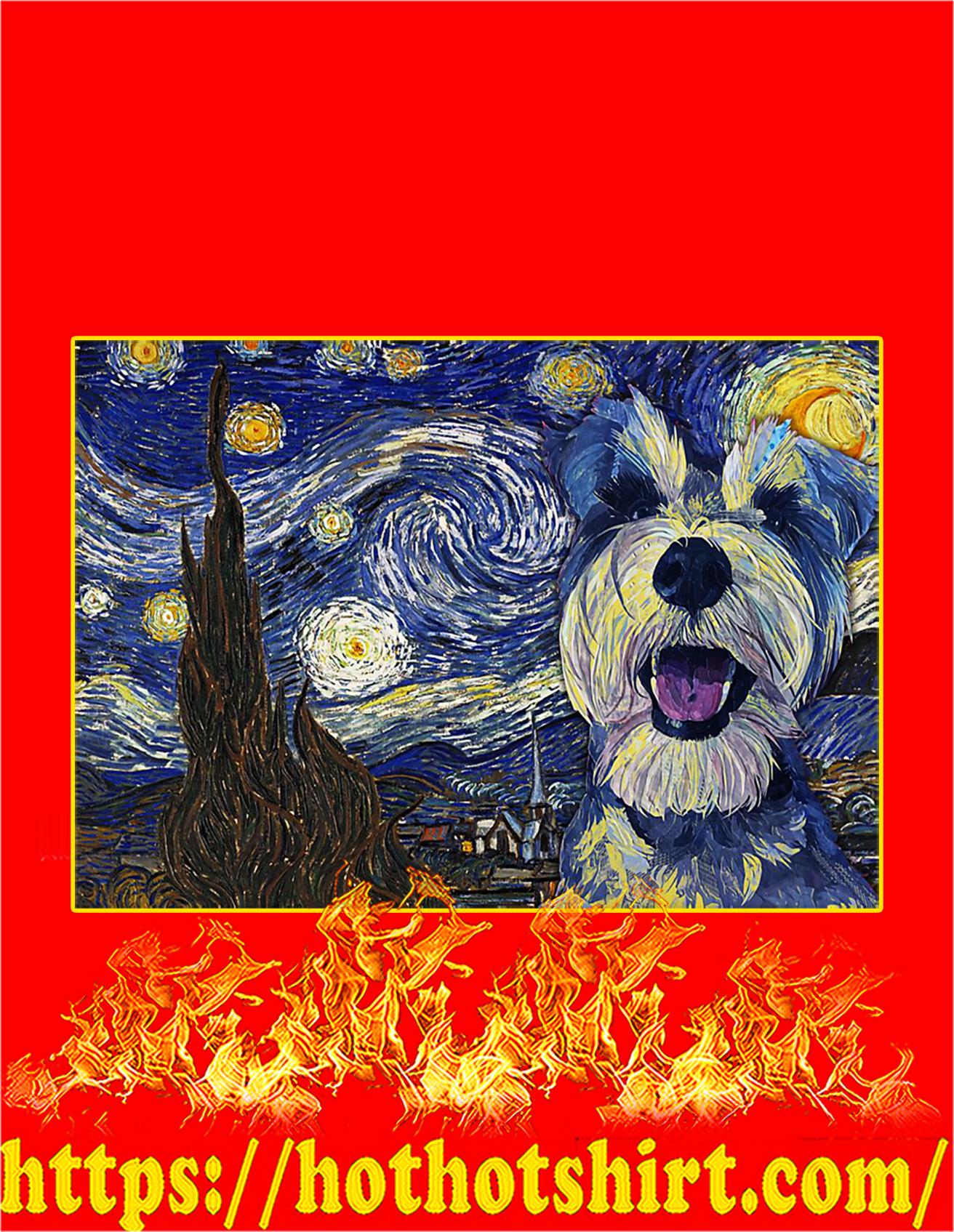 Schnauzer dog van gogh poster - A2