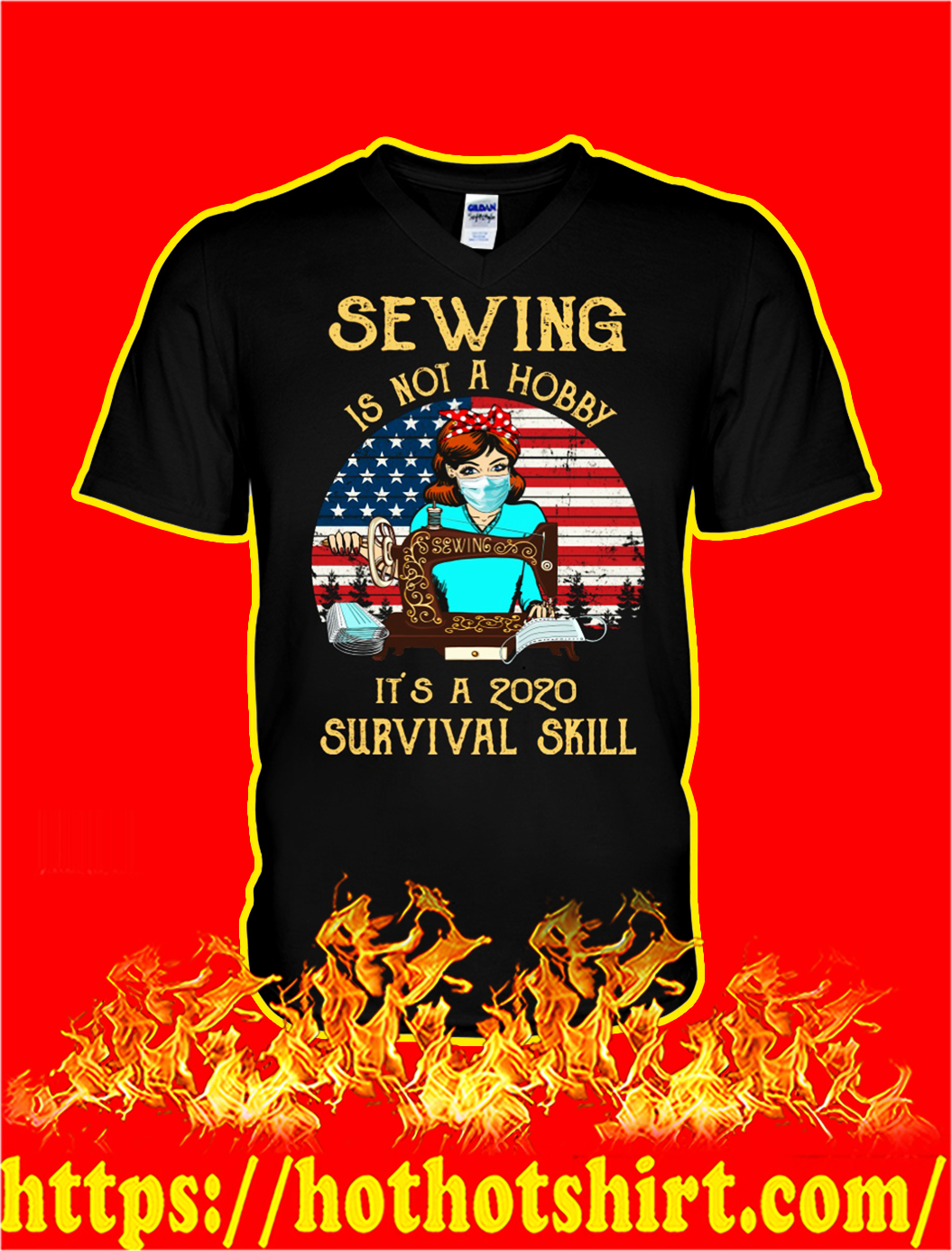 Sewing is not a hobby it's a 2020 survival skill v-neck
