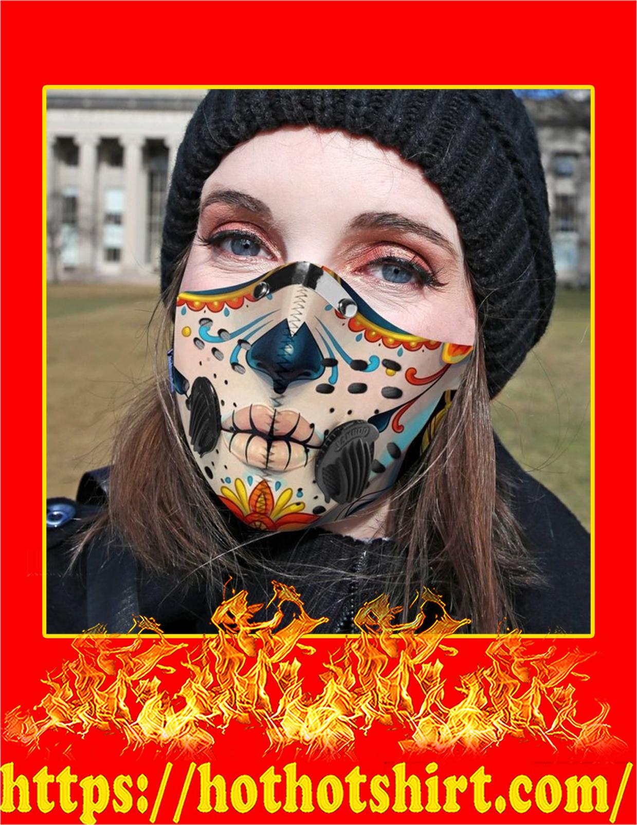 Skull face filter face mask - detail