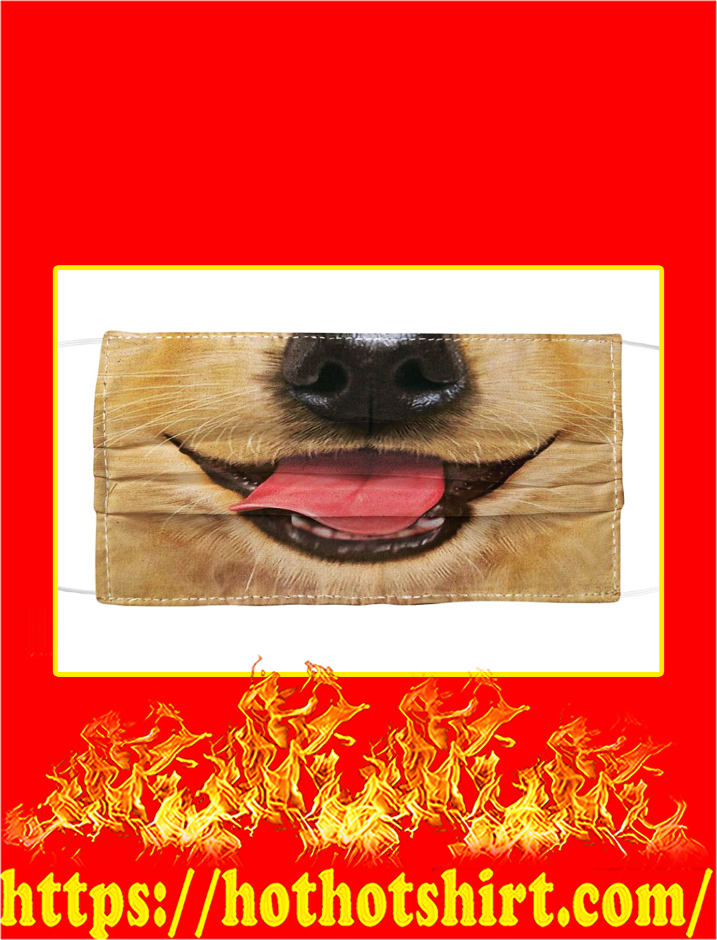 Smiling golden retriever face mask- pic 1