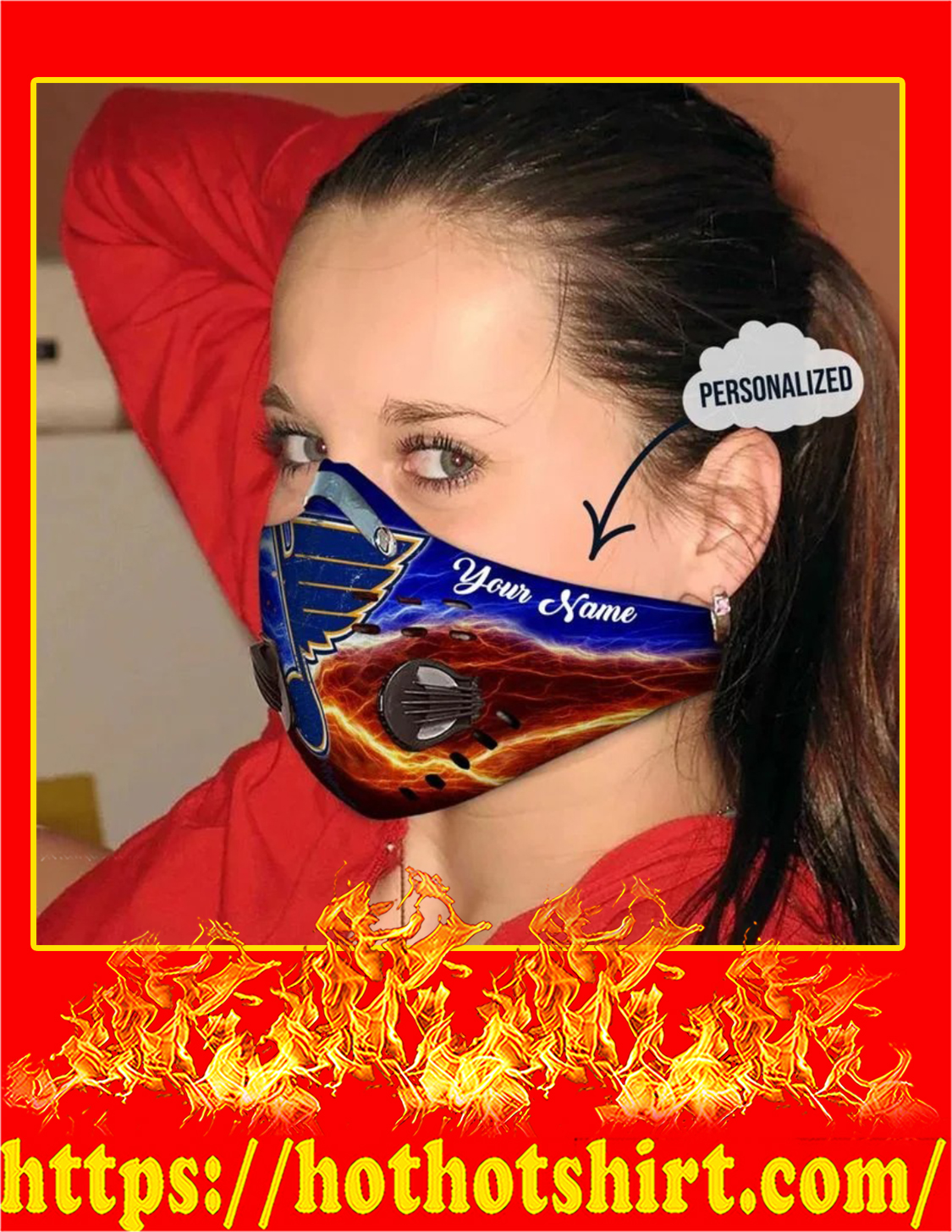 St louis blues personalized custom name filter face mask - Pic 2