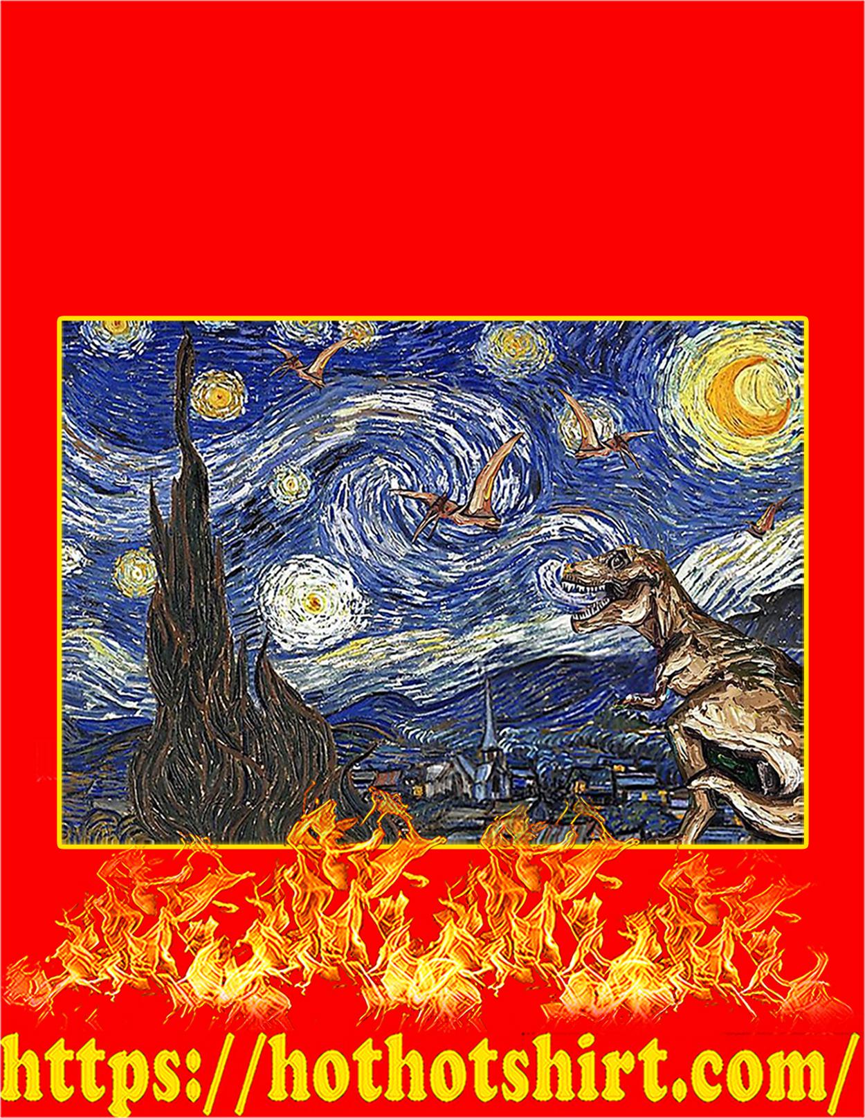 Starry night dinosaur poster - A3