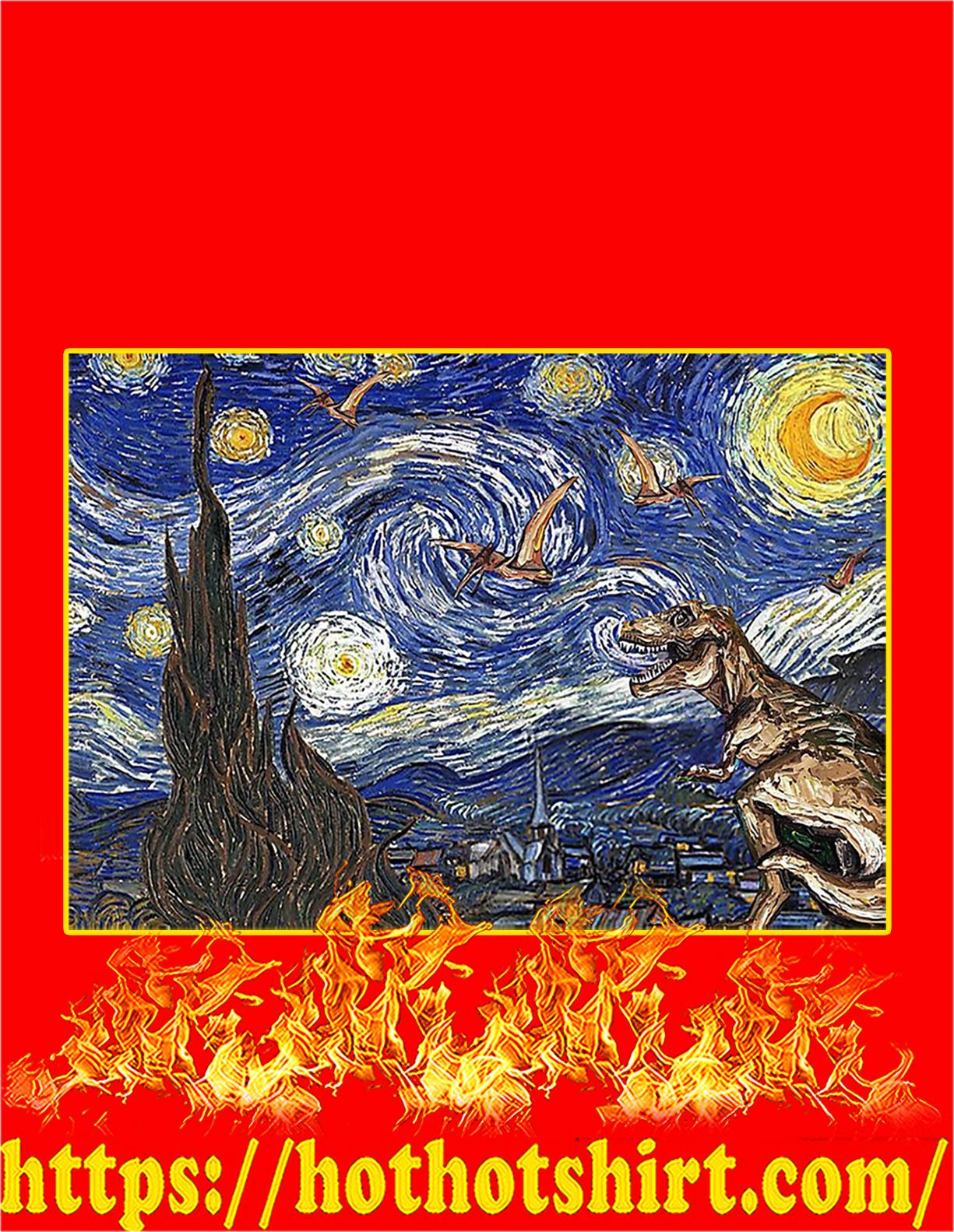 Starry night dinosaur poster - A4