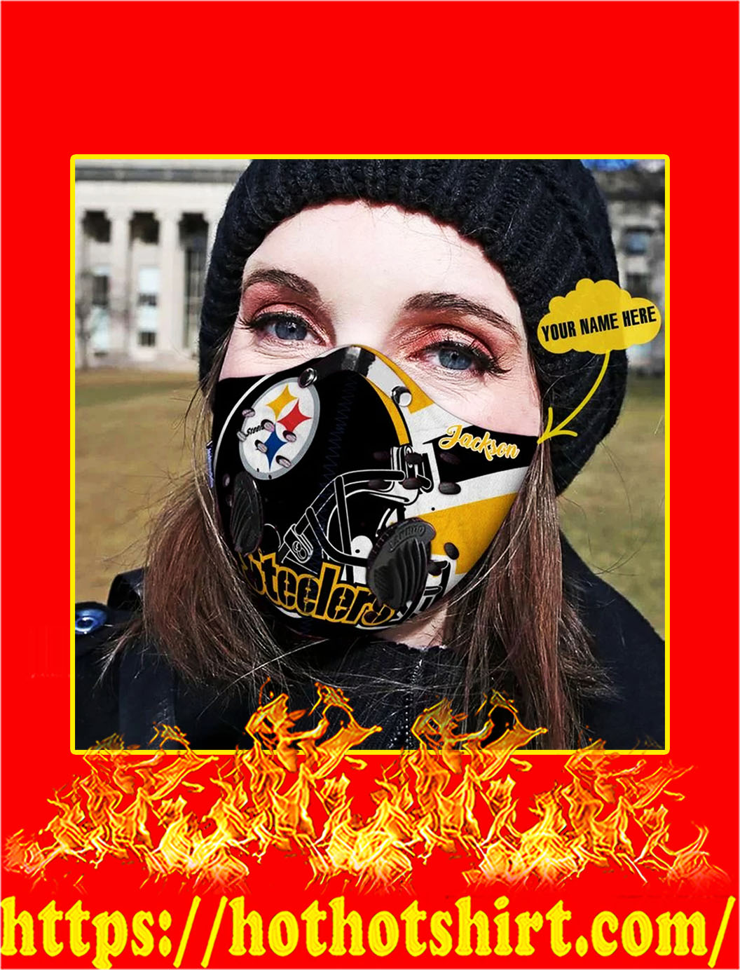 Steelers Personalized Custom Name Filter Activated Carbon Pm 2.5 Fm Face Mask- pic 1