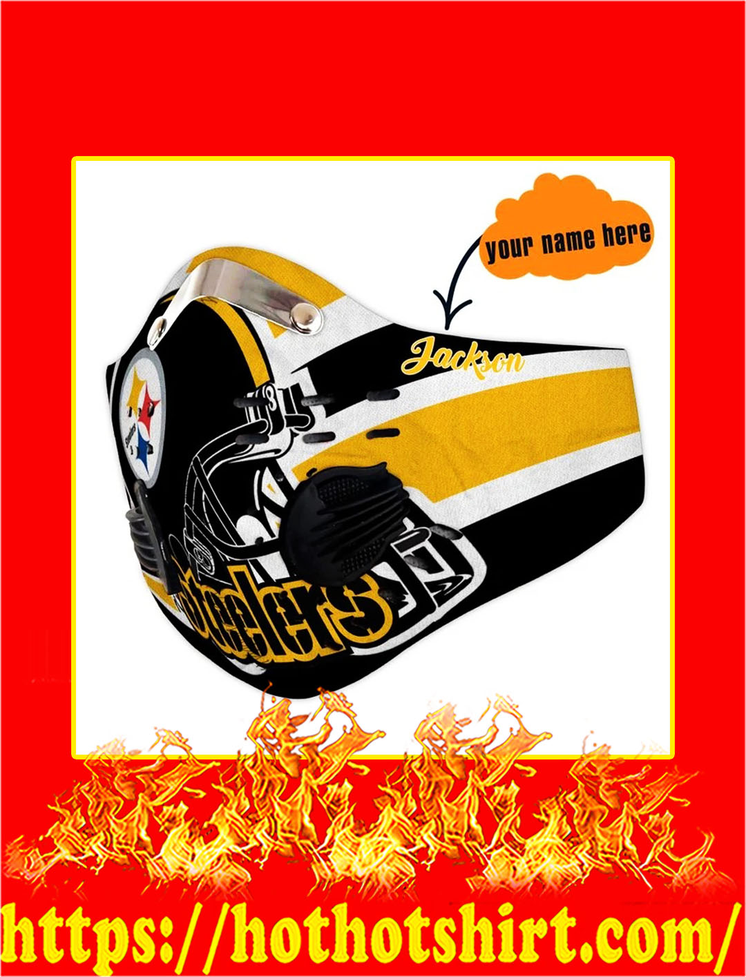 Steelers Personalized Custom Name Filter Activated Carbon Pm 2.5 Fm Face Mask