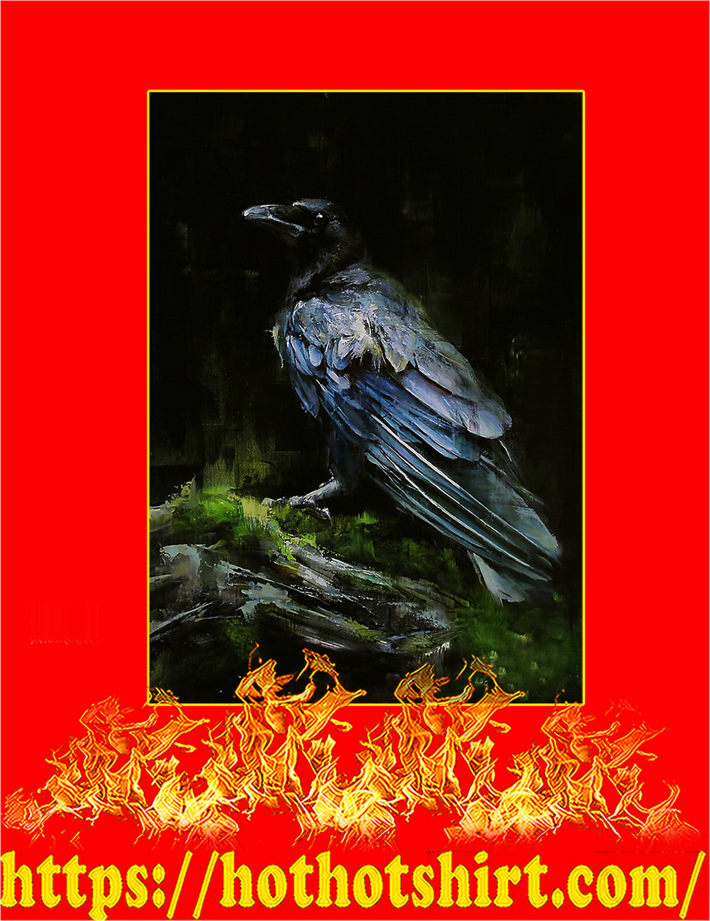 The Raven watercolor printed poster - A3