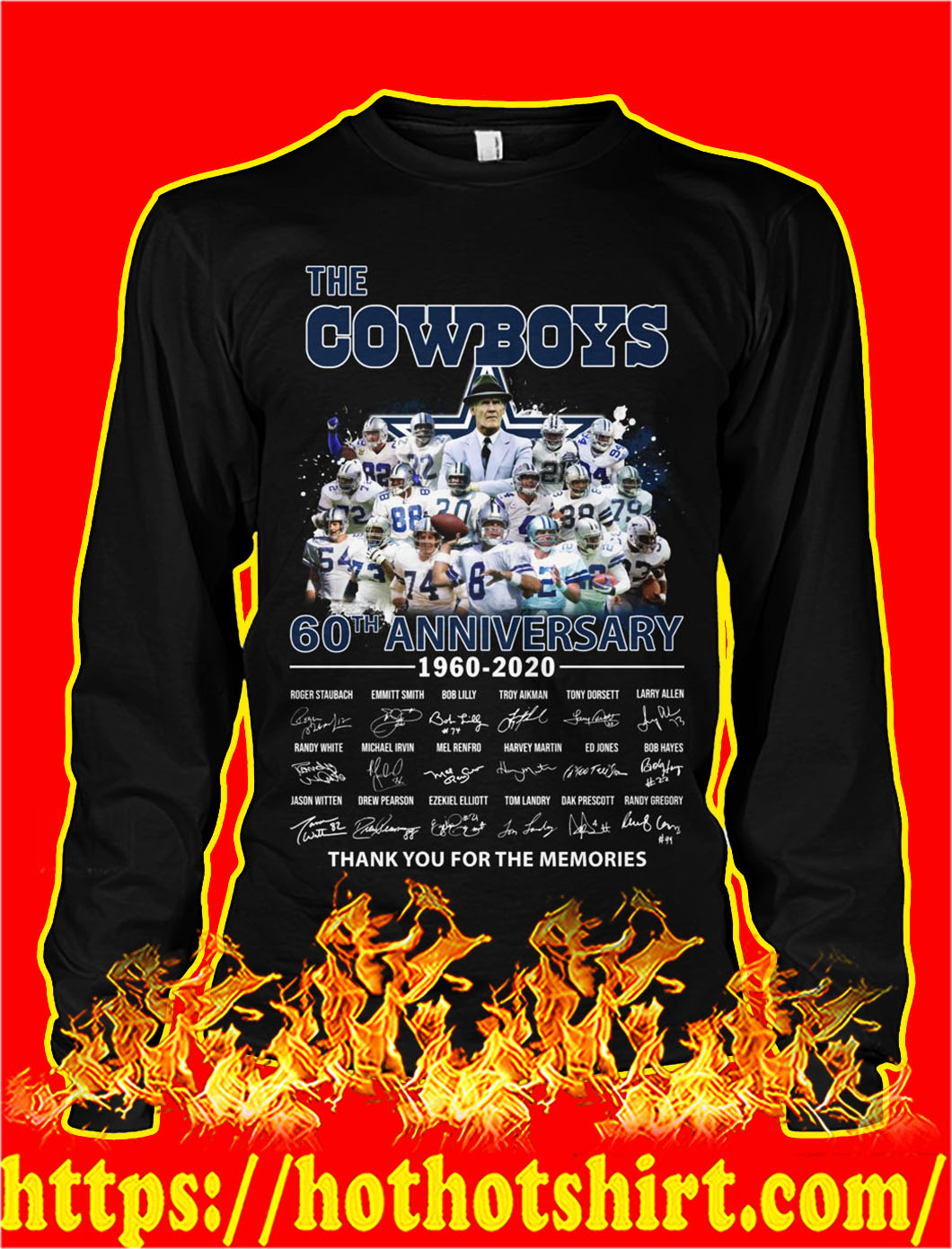 The cowboys 60th anniversary thank you for the memories longsleeve tee
