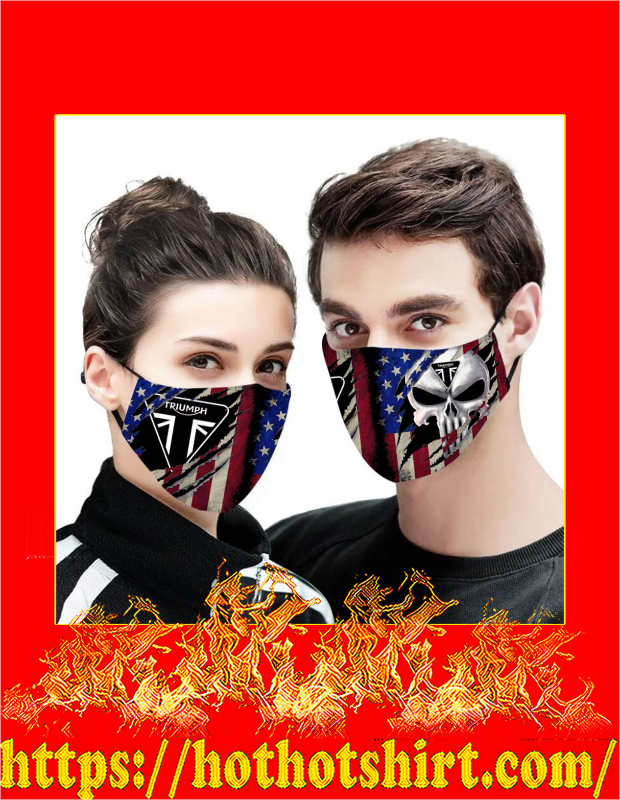 Triumph punisher skull american flag face mask - detail