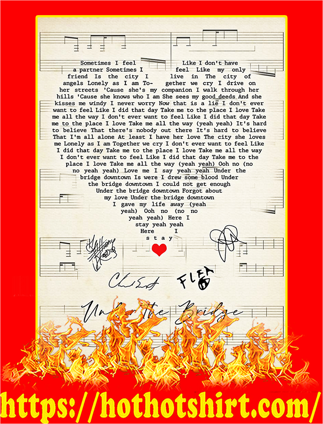 Under the bridge signature heart poster - A2