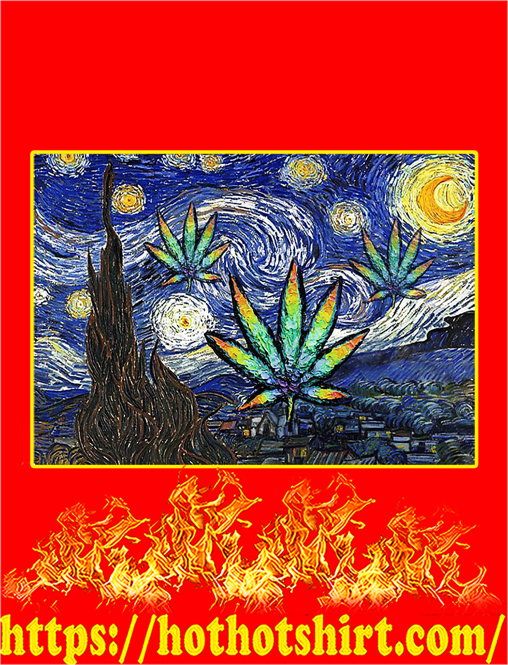 Weed cannabis starry night van gogh poster - A2