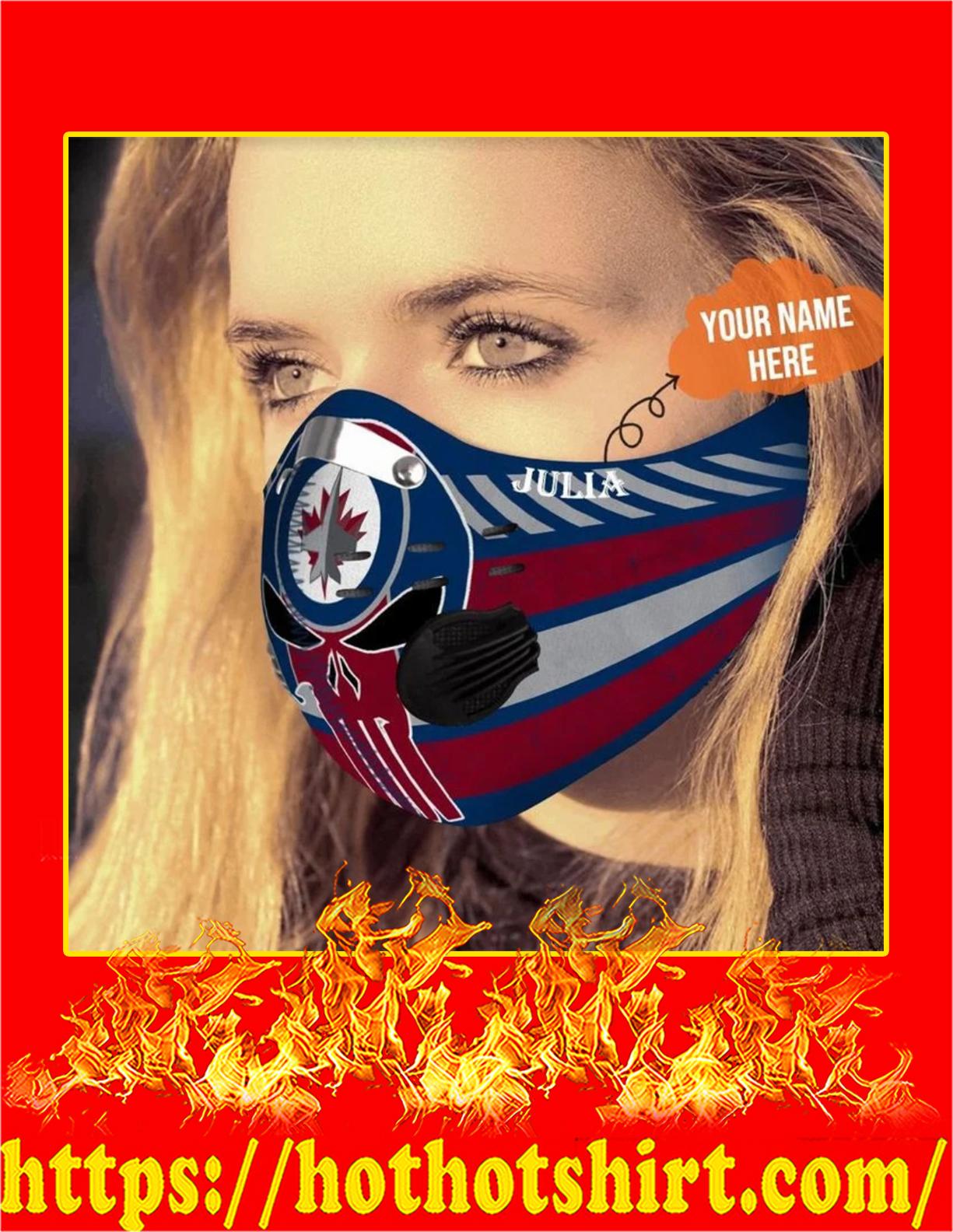 Winnipeg jets punisher skull personalized custom name filter face mask - Pic 2
